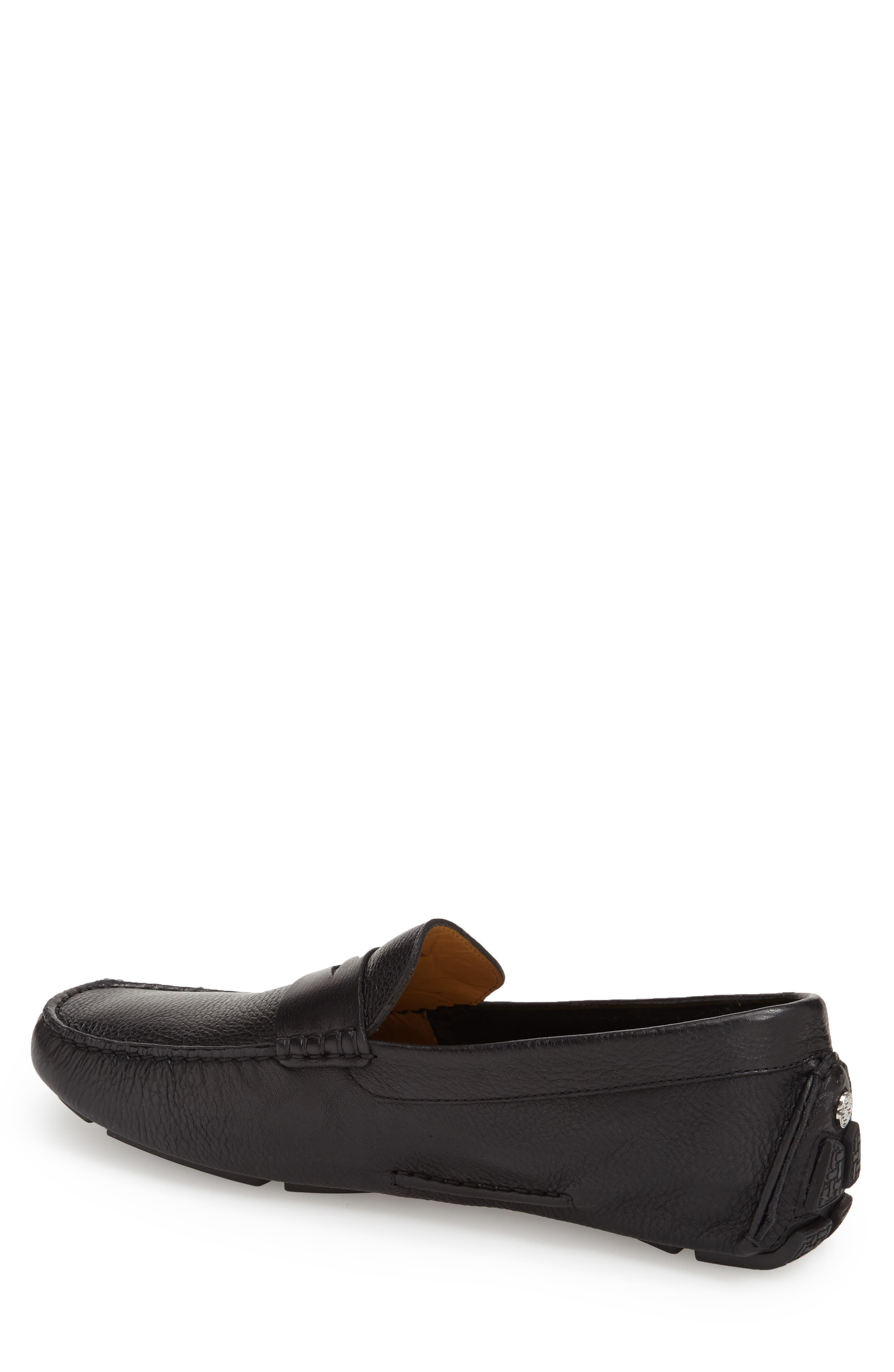 COLE HAAN, 'Howland' Penny Loafer, Alternate thumbnail 10, color, BLACK TUMBLED