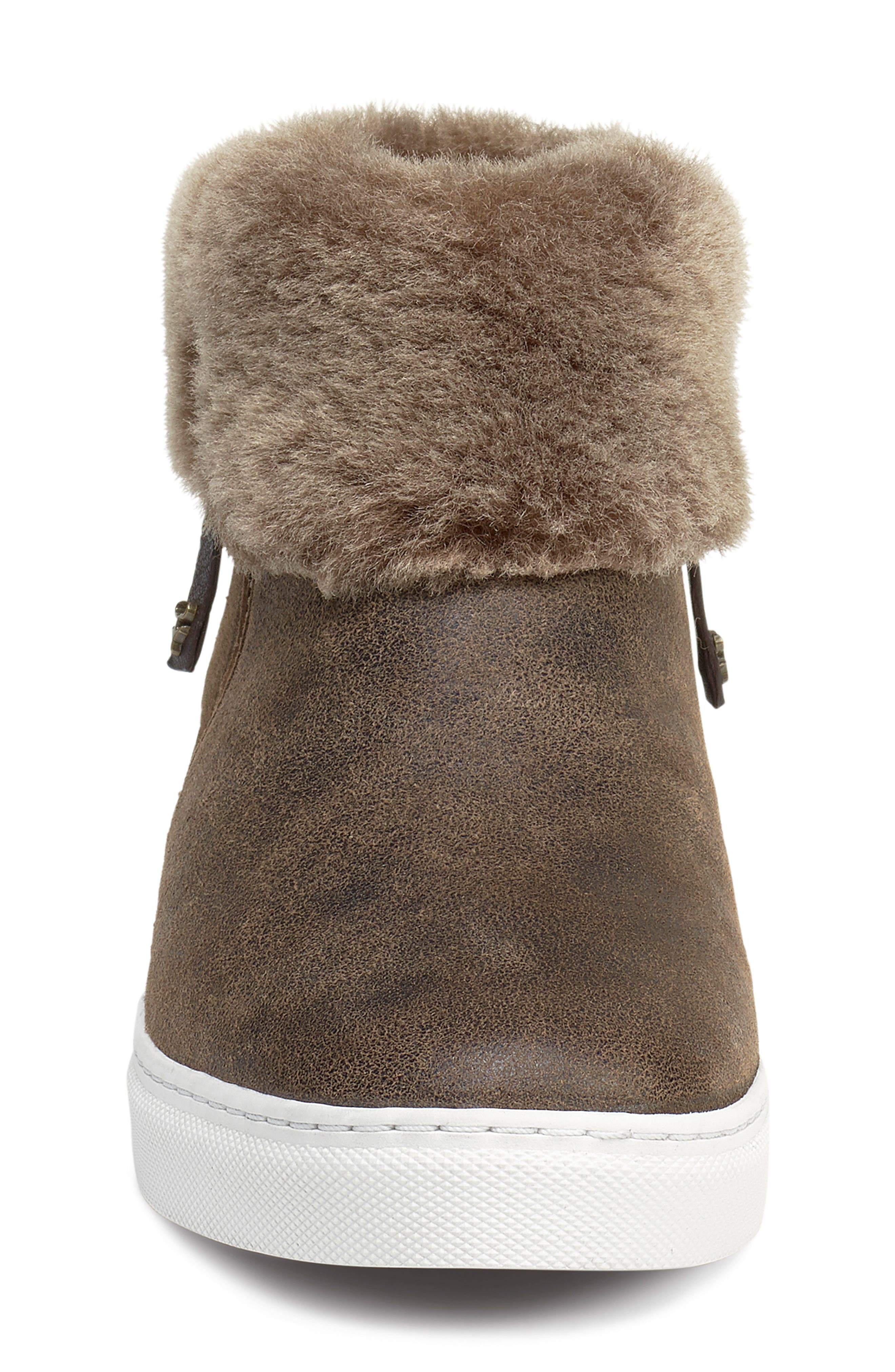 TRASK, Lexi Genuine Shearling Sneaker, Alternate thumbnail 4, color, BROWN LEATHER