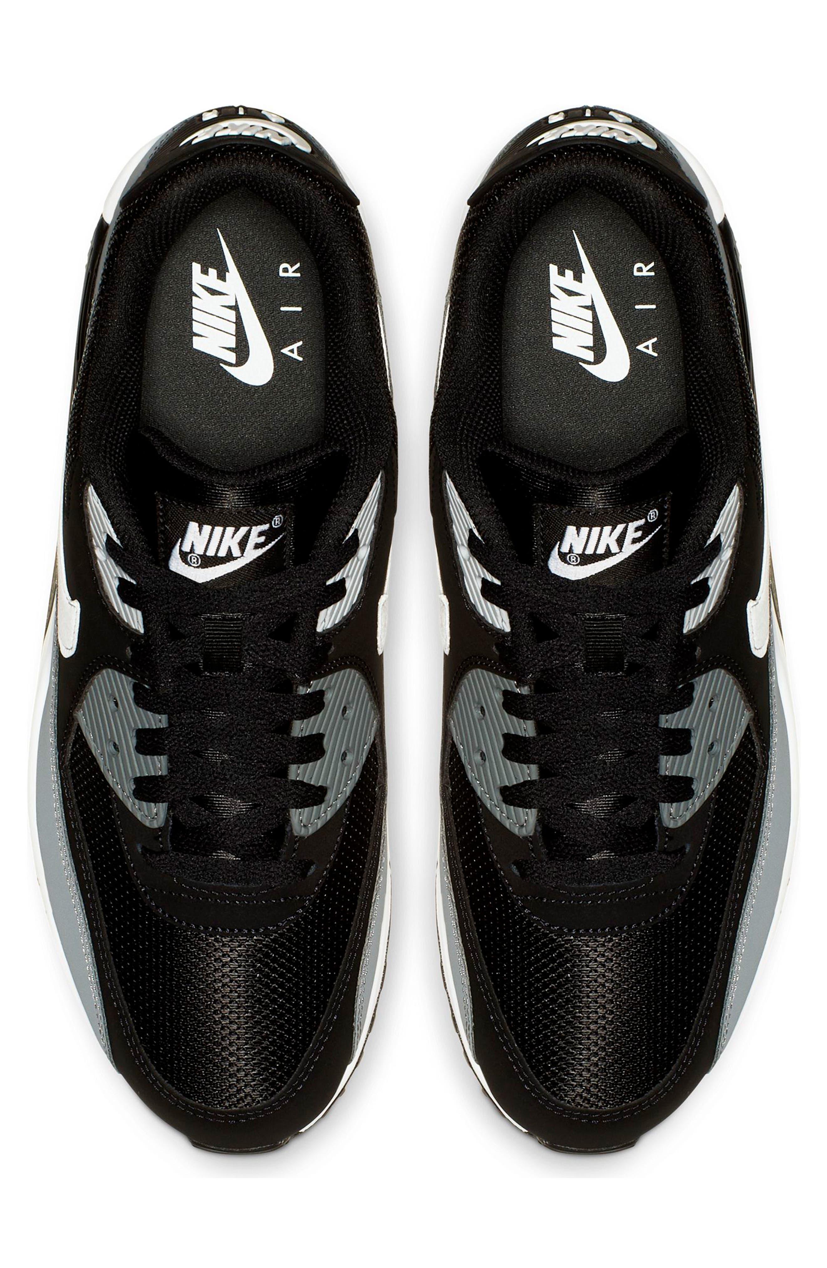NIKE, Air Max 90 Essential Sneaker, Alternate thumbnail 3, color, BLACK/ WHITE/ COOL GREY