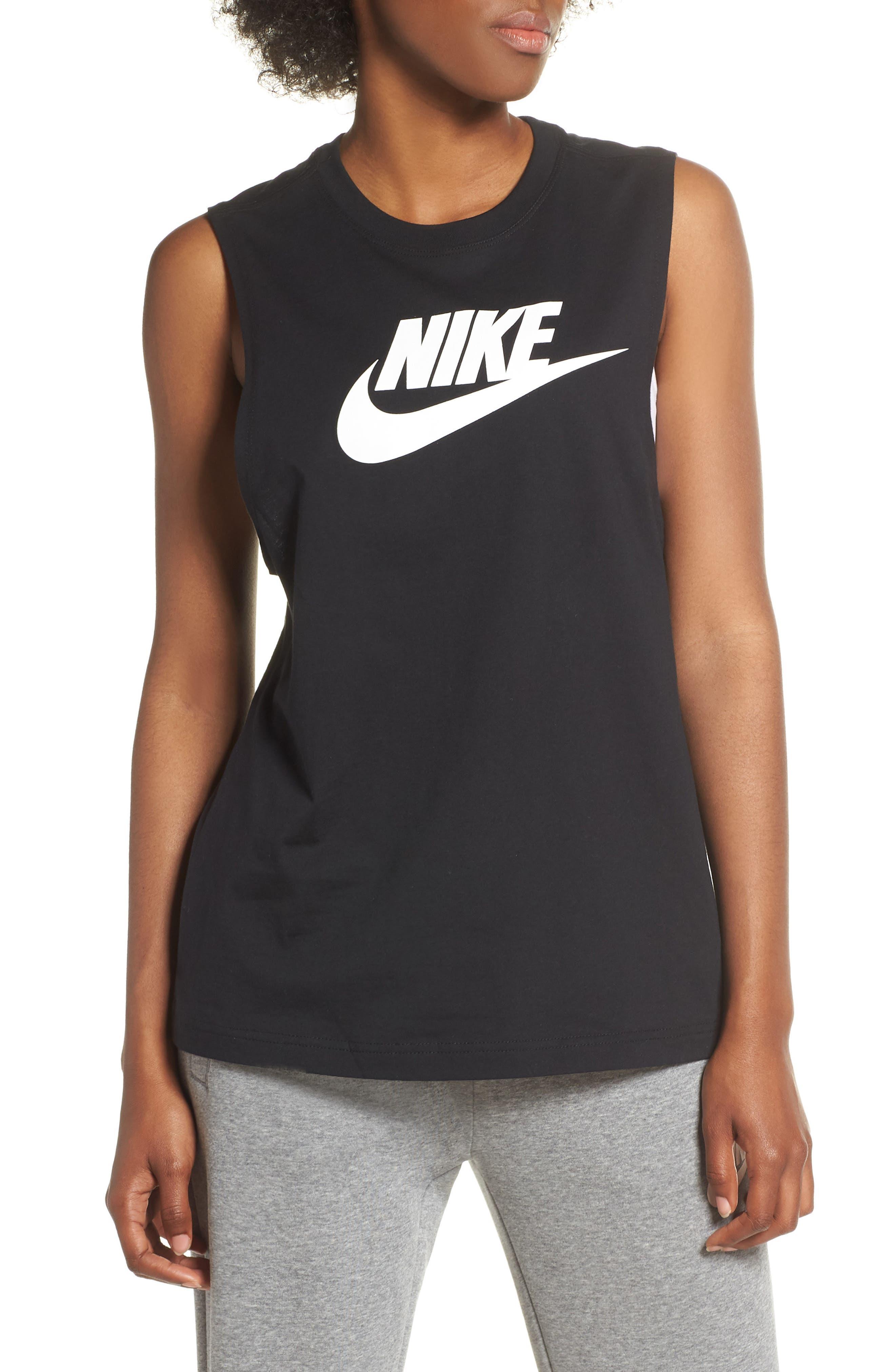 NIKE, Sportswear Essential Futura Muscle Tank, Main thumbnail 1, color, BLACK/ WHITE