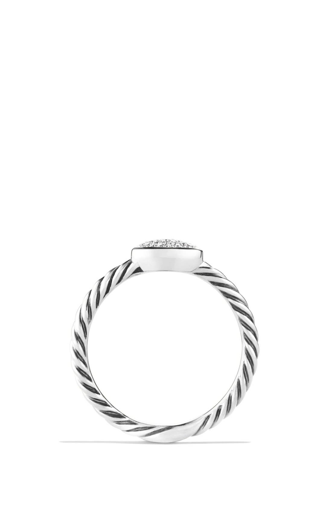 DAVID YURMAN, 'Cable Collectibles' Oval Ring with Diamonds, Alternate thumbnail 4, color, DIAMOND