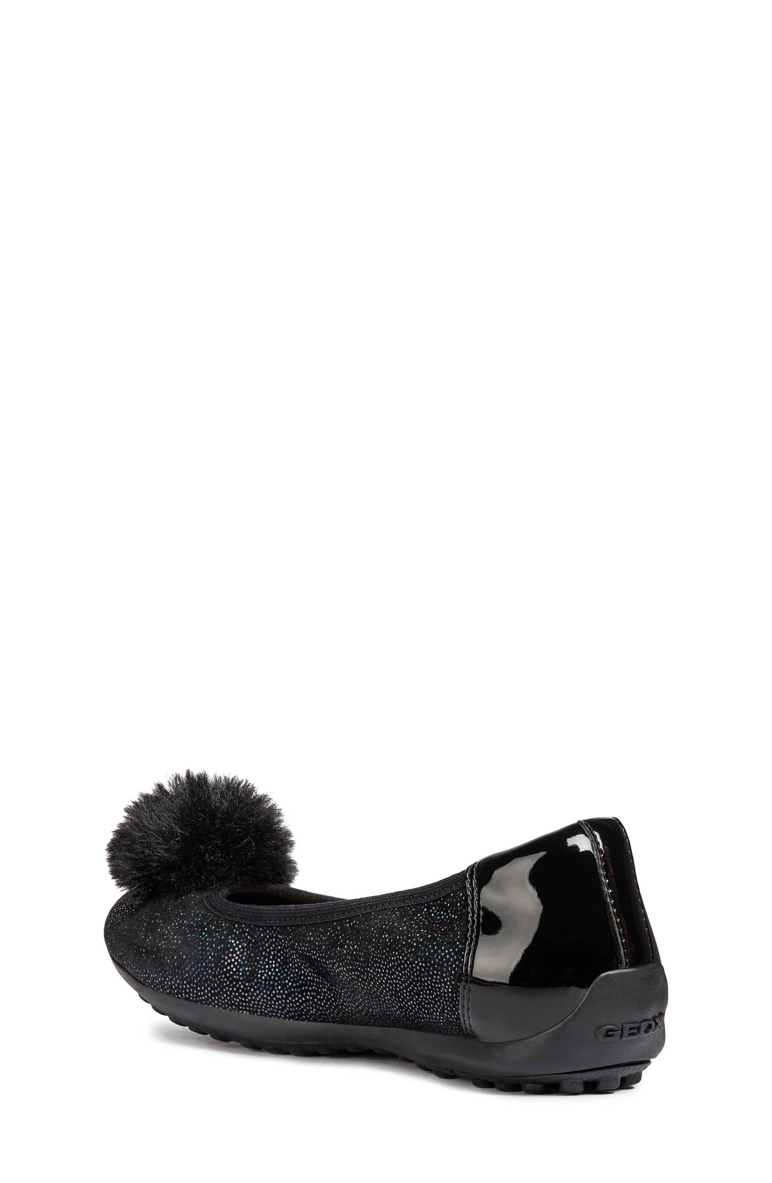GEOX, Piuma Faux Fur Pom Glitter Ballerina Flat, Alternate thumbnail 2, color, BLACK
