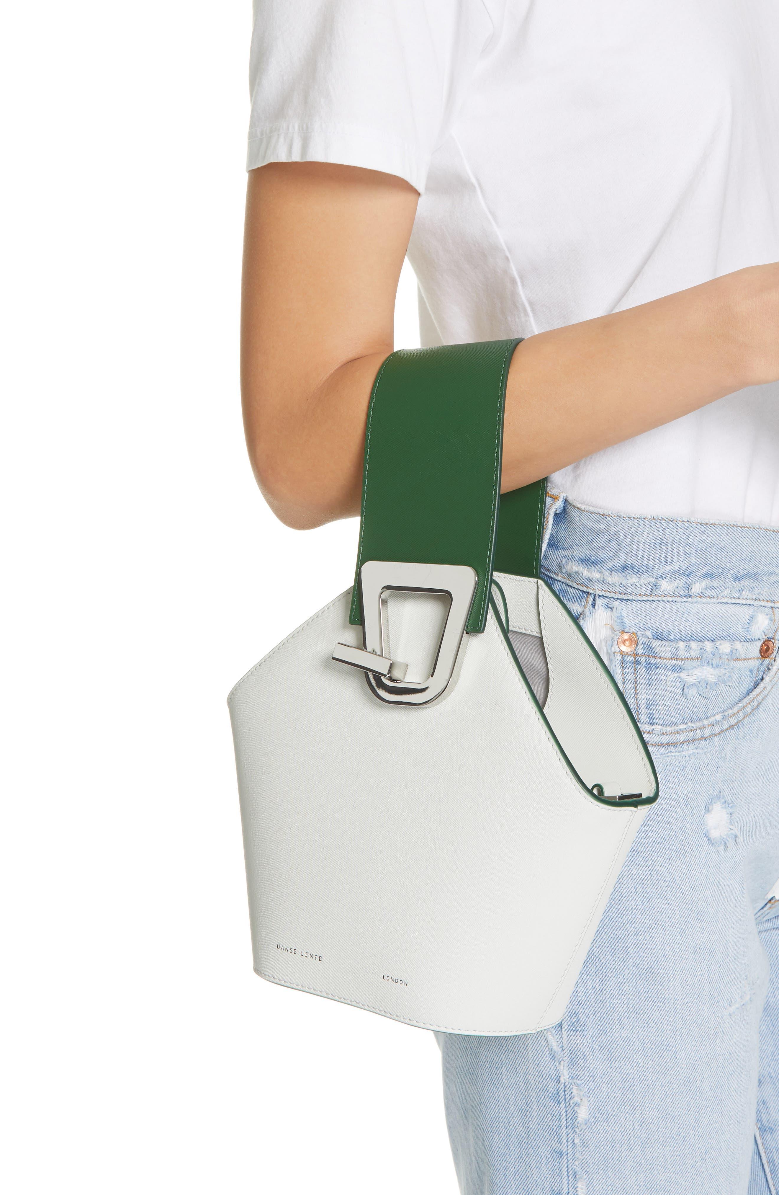 DANSE LENTE, Mini Johnny Leather Bucket Bag, Alternate thumbnail 3, color, MOONSEED