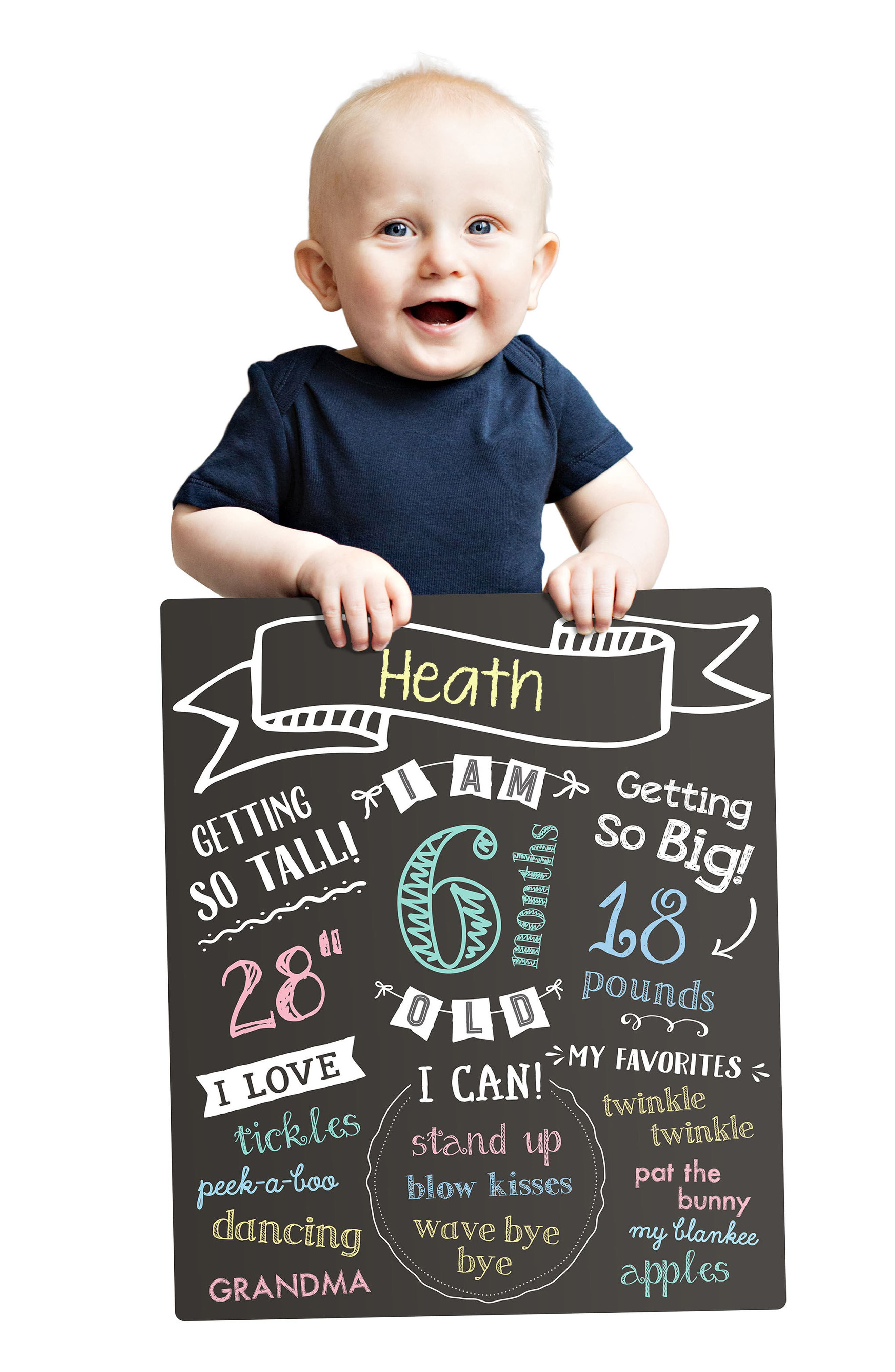 PEARHEAD, All About Baby Chalkboard, Alternate thumbnail 4, color, BLACK
