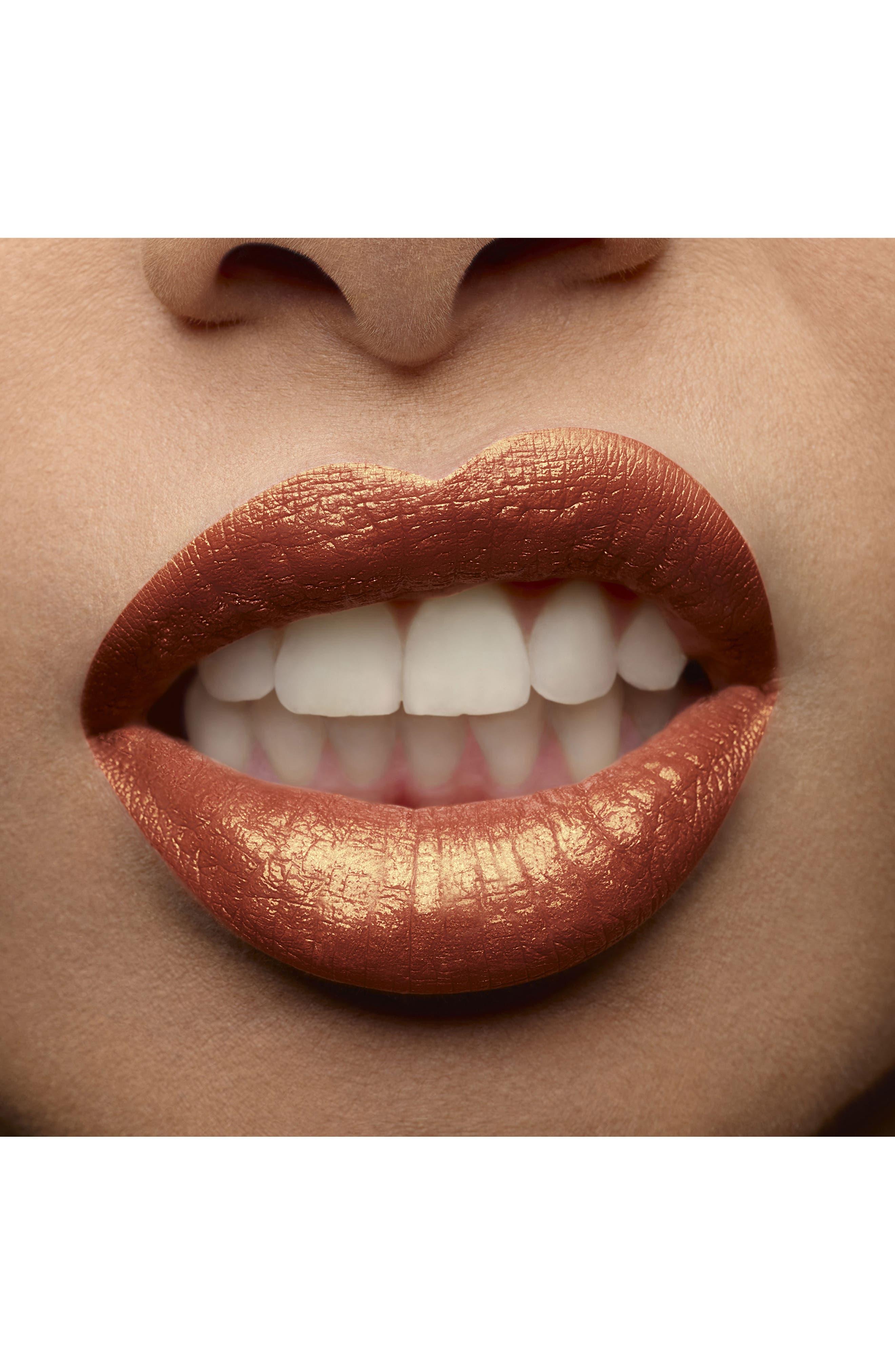YVES SAINT LAURENT, Tatouage Couture Metallics Liquid Lipstick, Alternate thumbnail 3, color, 103 TRIBAL COPPER