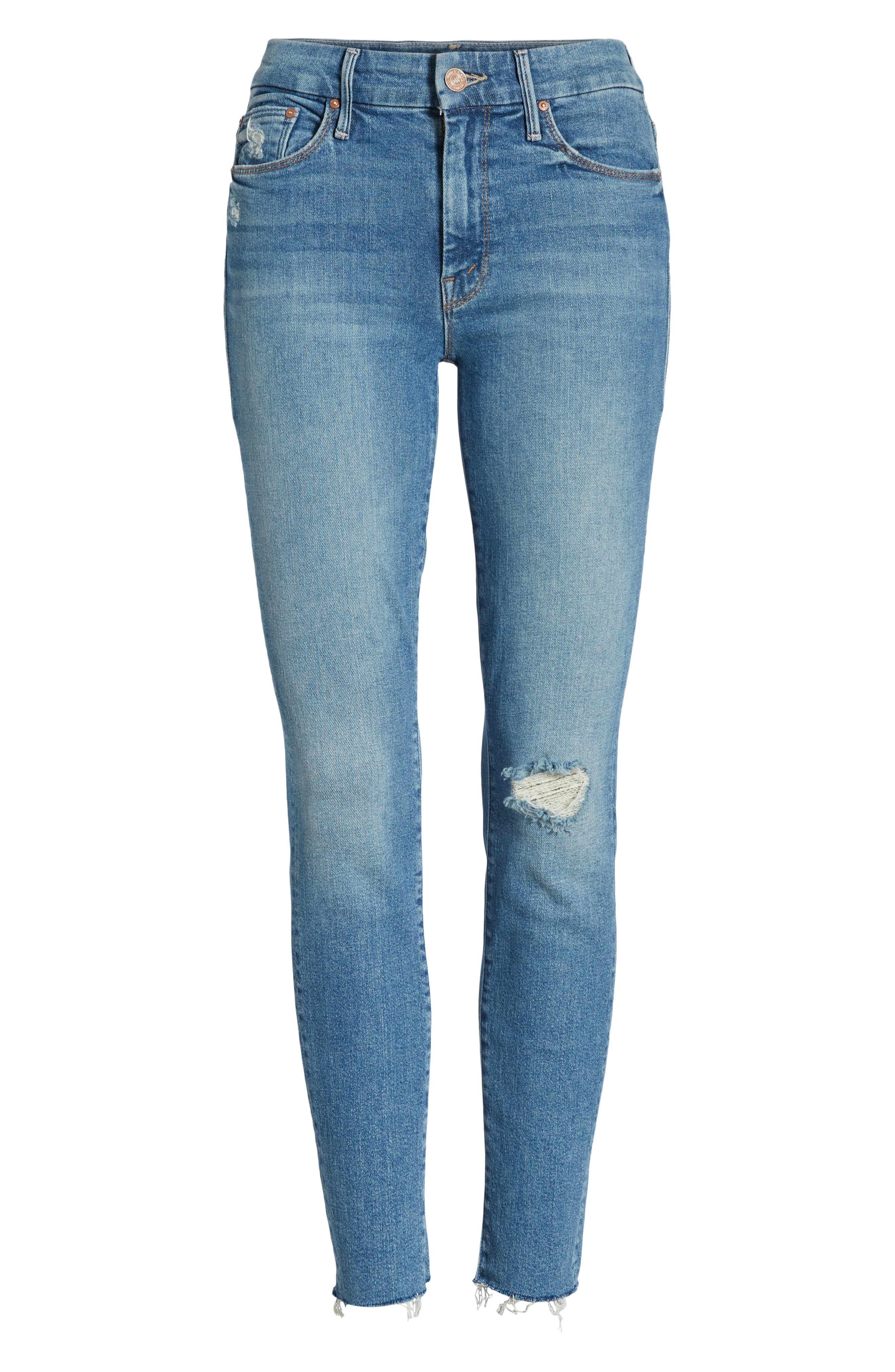 MOTHER, The Looker Frayed Ankle Skinny Jeans, Alternate thumbnail 7, color, LOVE GUN