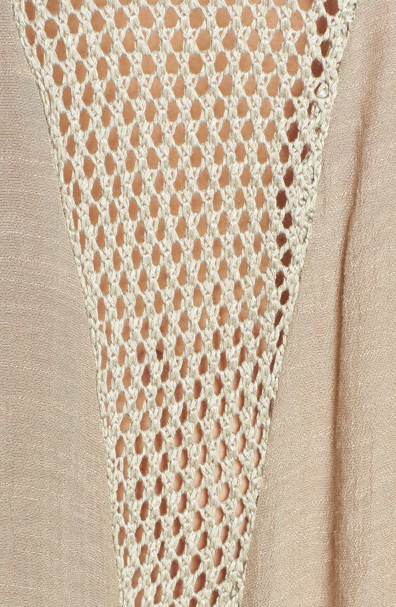 ELAN, Crochet Inset Cover-Up Dress, Alternate thumbnail 6, color, SAGE