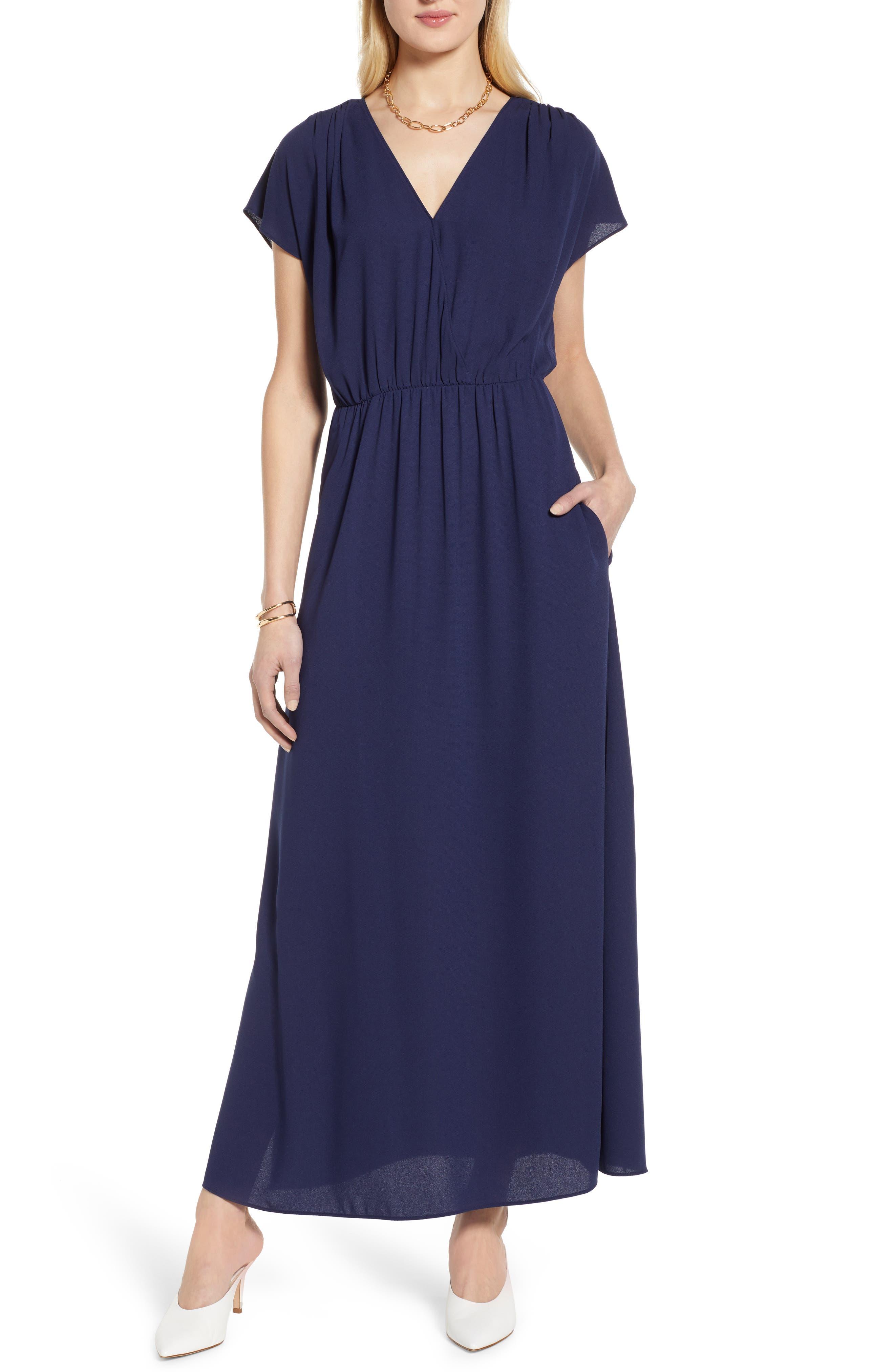 Petite Halogen V-Neck Maxi Dress, Blue