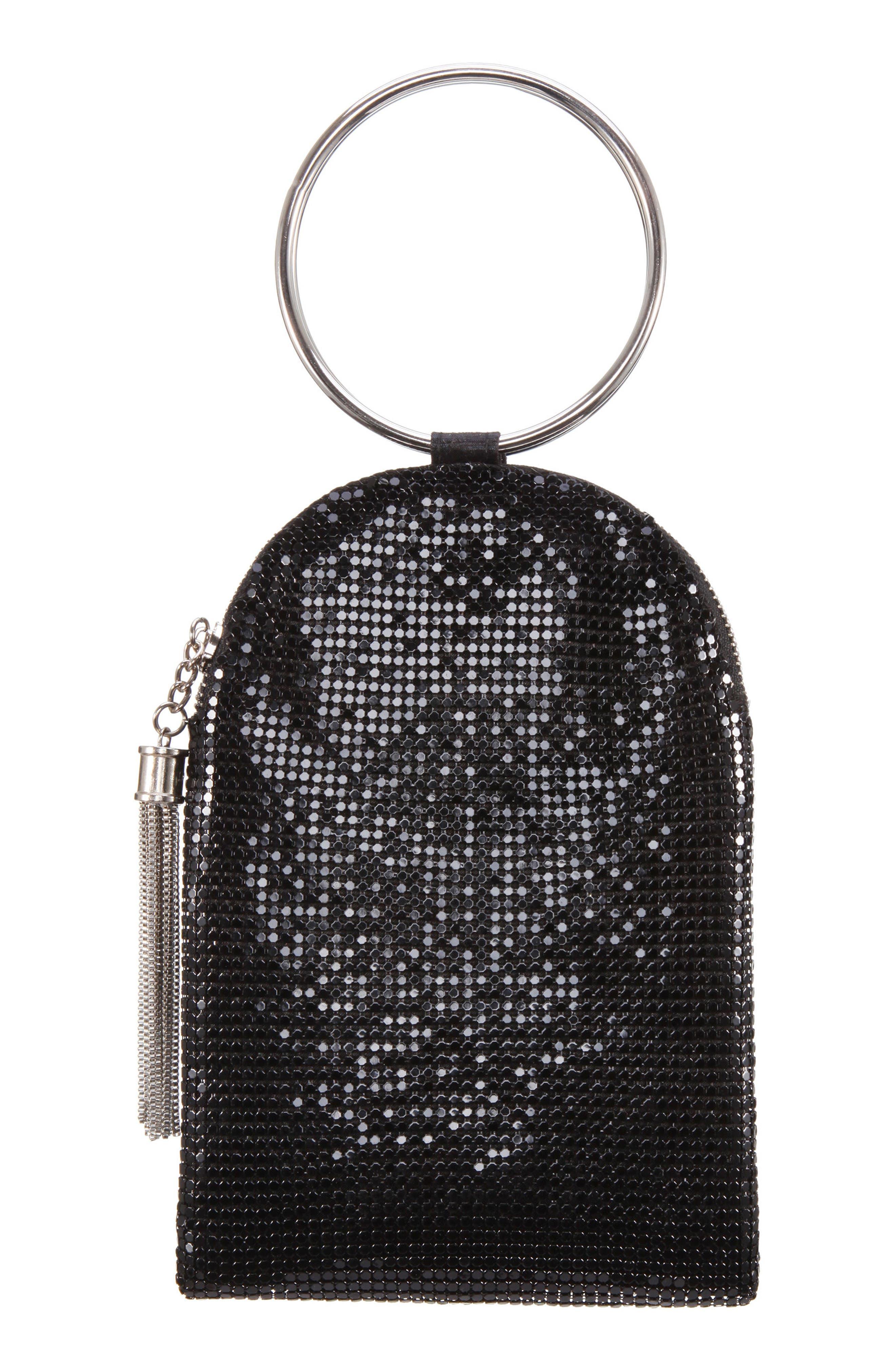 NINA, Metallic Mesh Handbag, Alternate thumbnail 2, color, BLACK