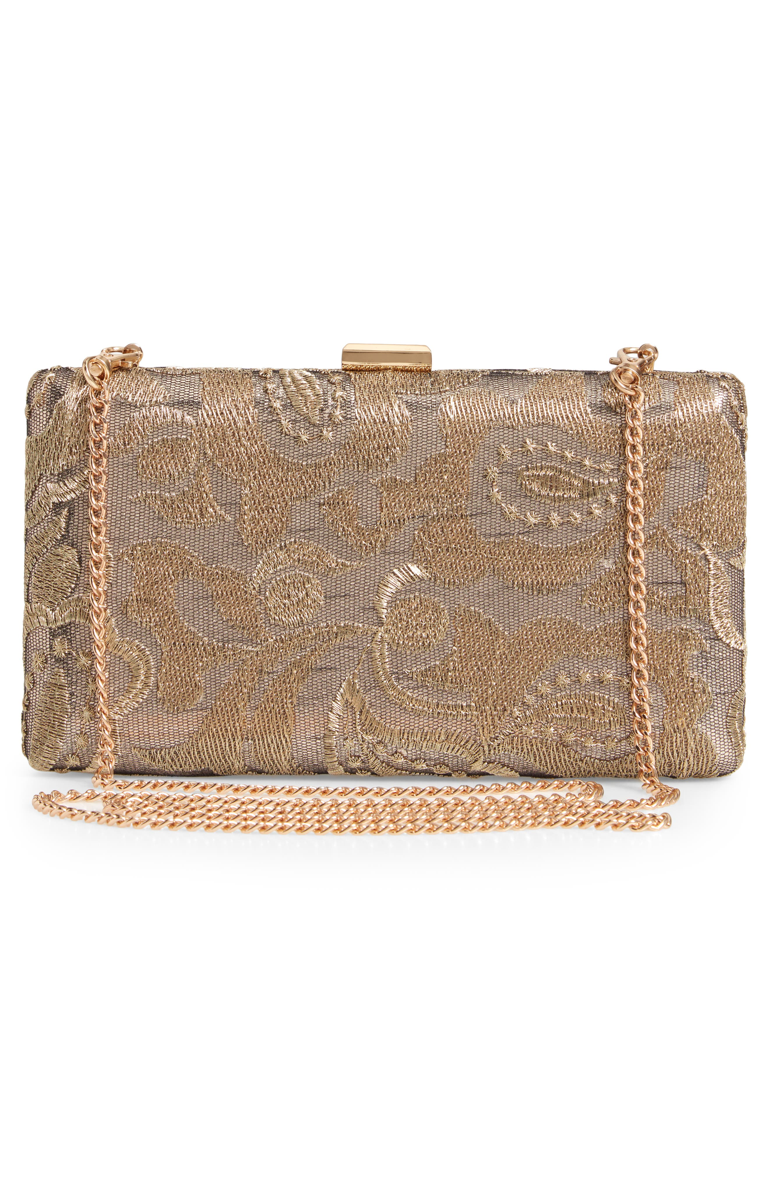NORDSTROM, Metallic Lace Pattern Box Minaudière, Alternate thumbnail 3, color, 710