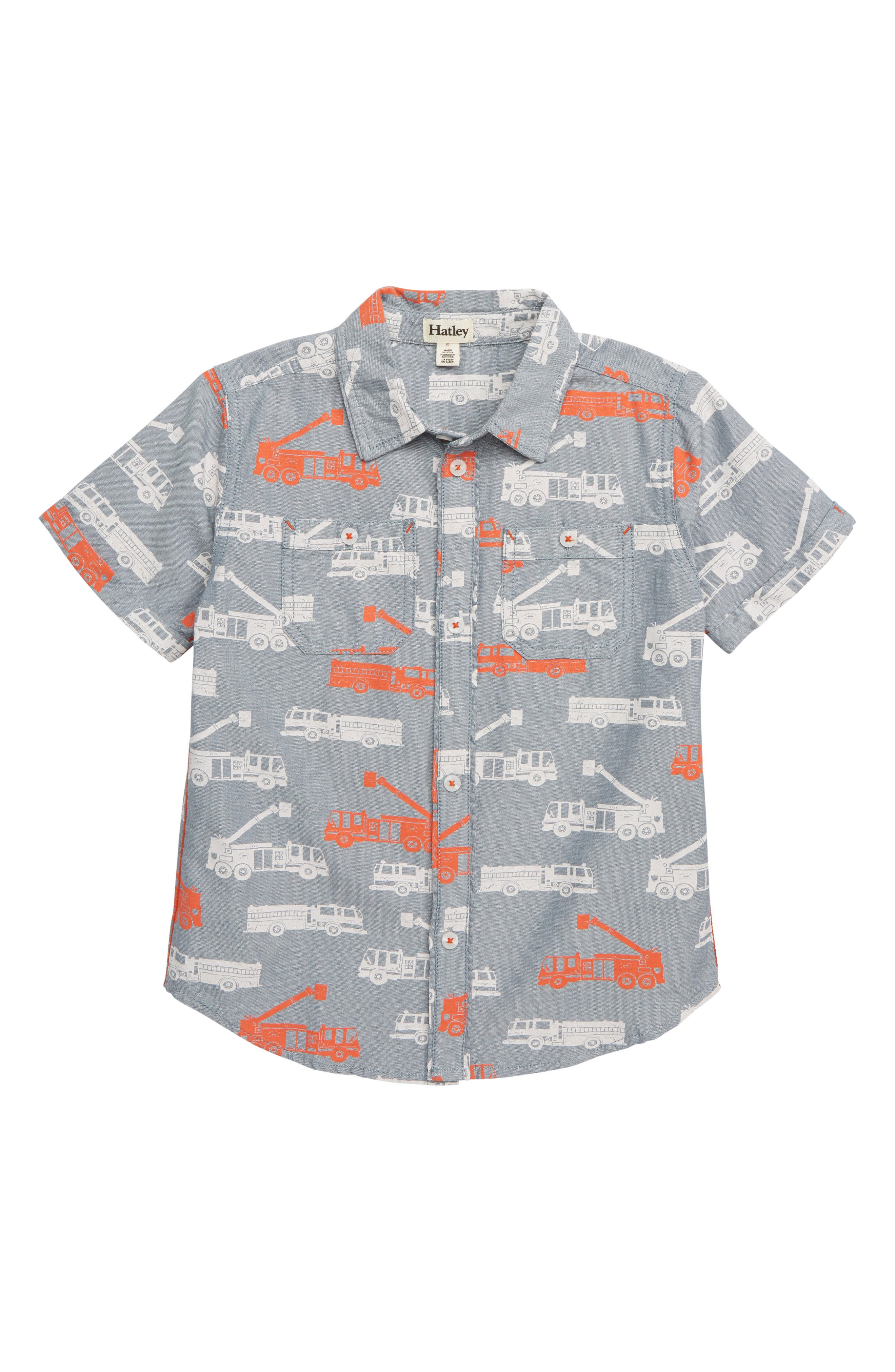 HATLEY Fire Trucks Print Woven Shirt, Main, color, GREY
