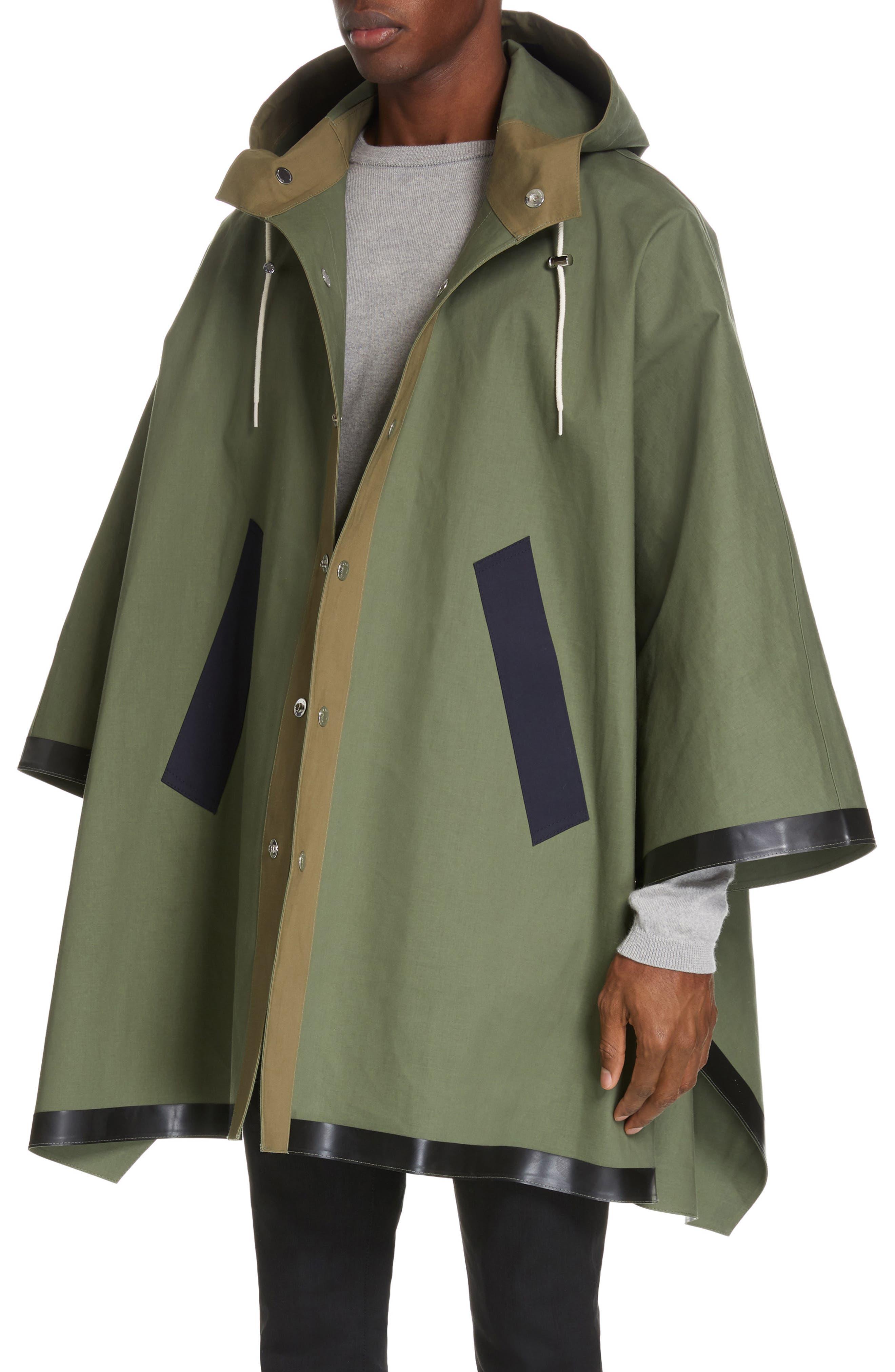 MACKINTOSH, Gents Bonded Cotton Hooded Poncho, Alternate thumbnail 6, color, FOUR LEAF CLOVER/ BLUE DEPTH