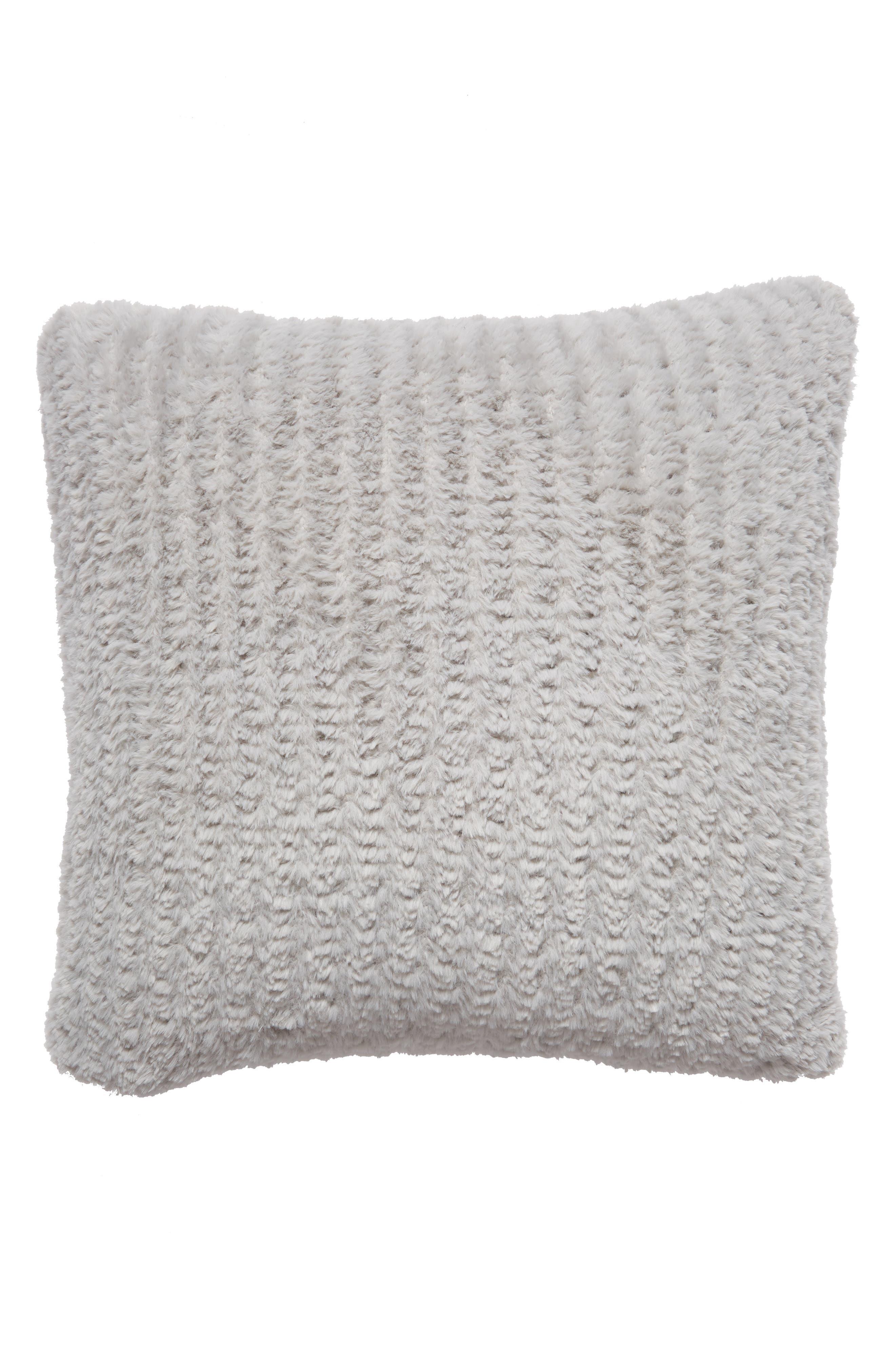 NORDSTROM AT HOME, Lazy Days Faux Fur Accent Pillow, Main thumbnail 1, color, GREY VAPOR