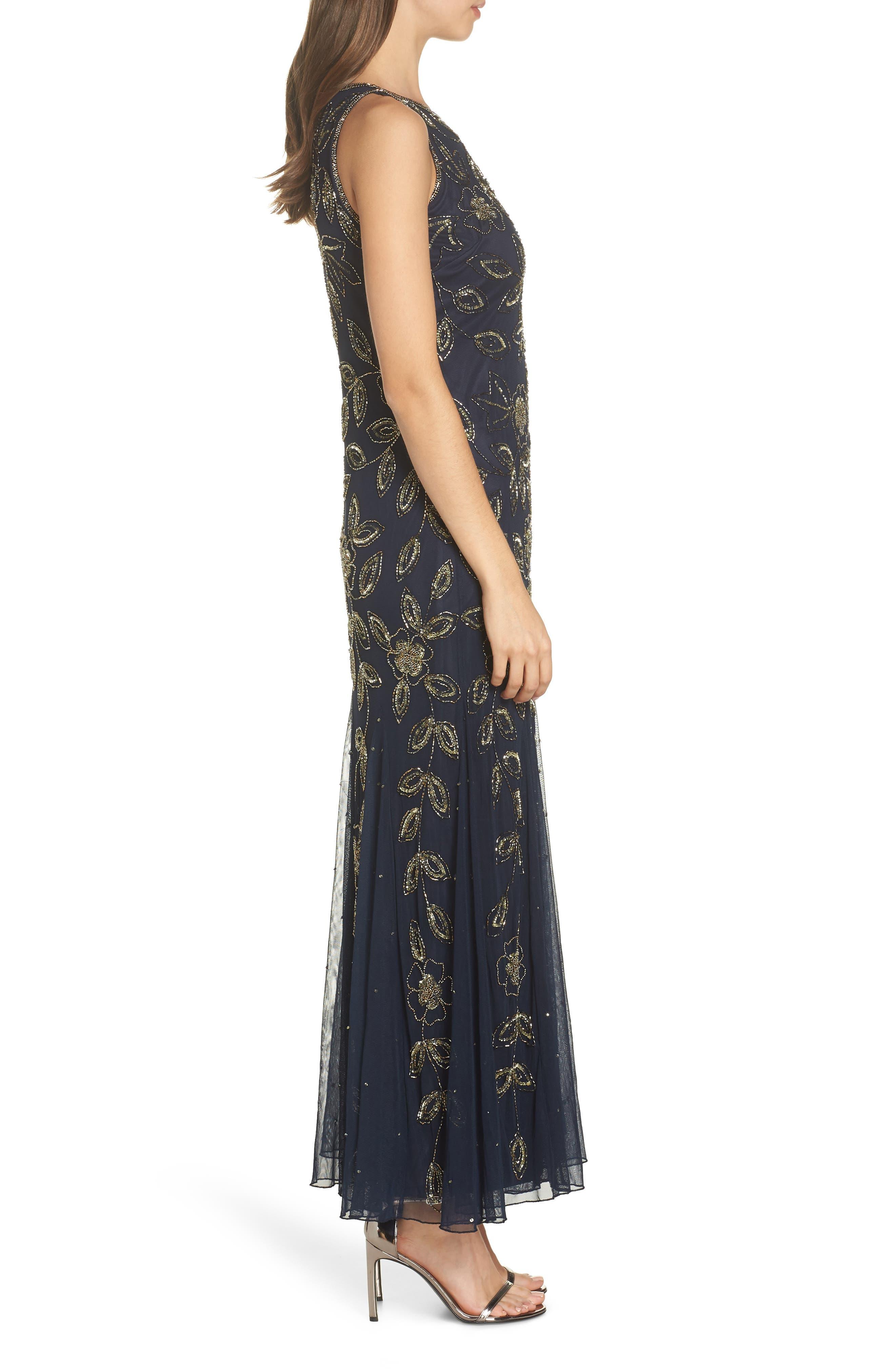 PISARRO NIGHTS, Beaded Godet Gown, Alternate thumbnail 4, color, 410