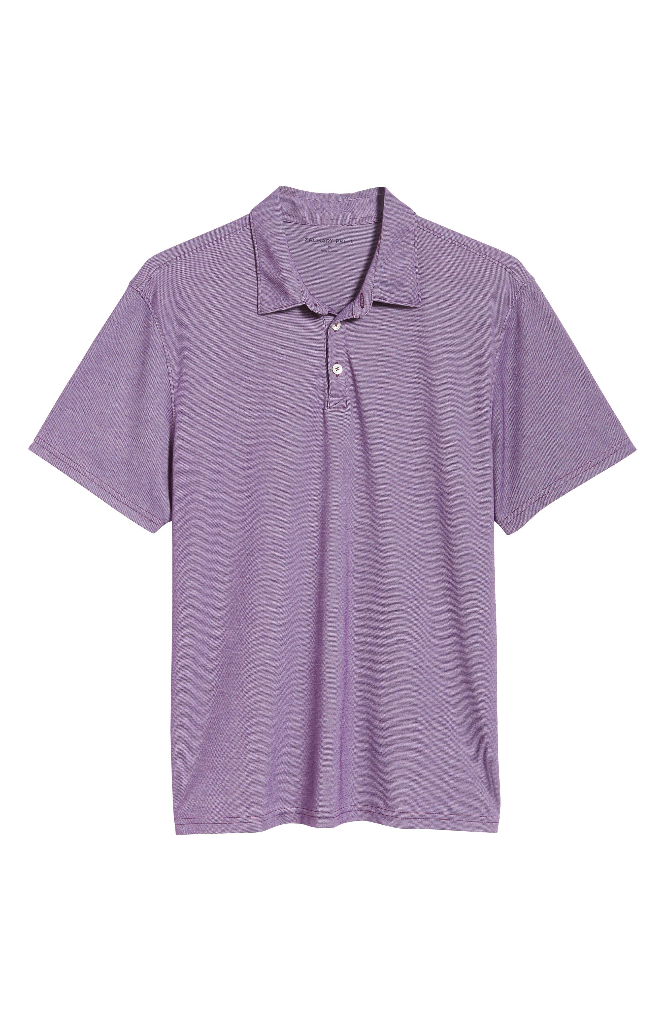 ZACHARY PRELL, Caldwell Piqué Regular Fit Polo, Alternate thumbnail 6, color, PURPLE