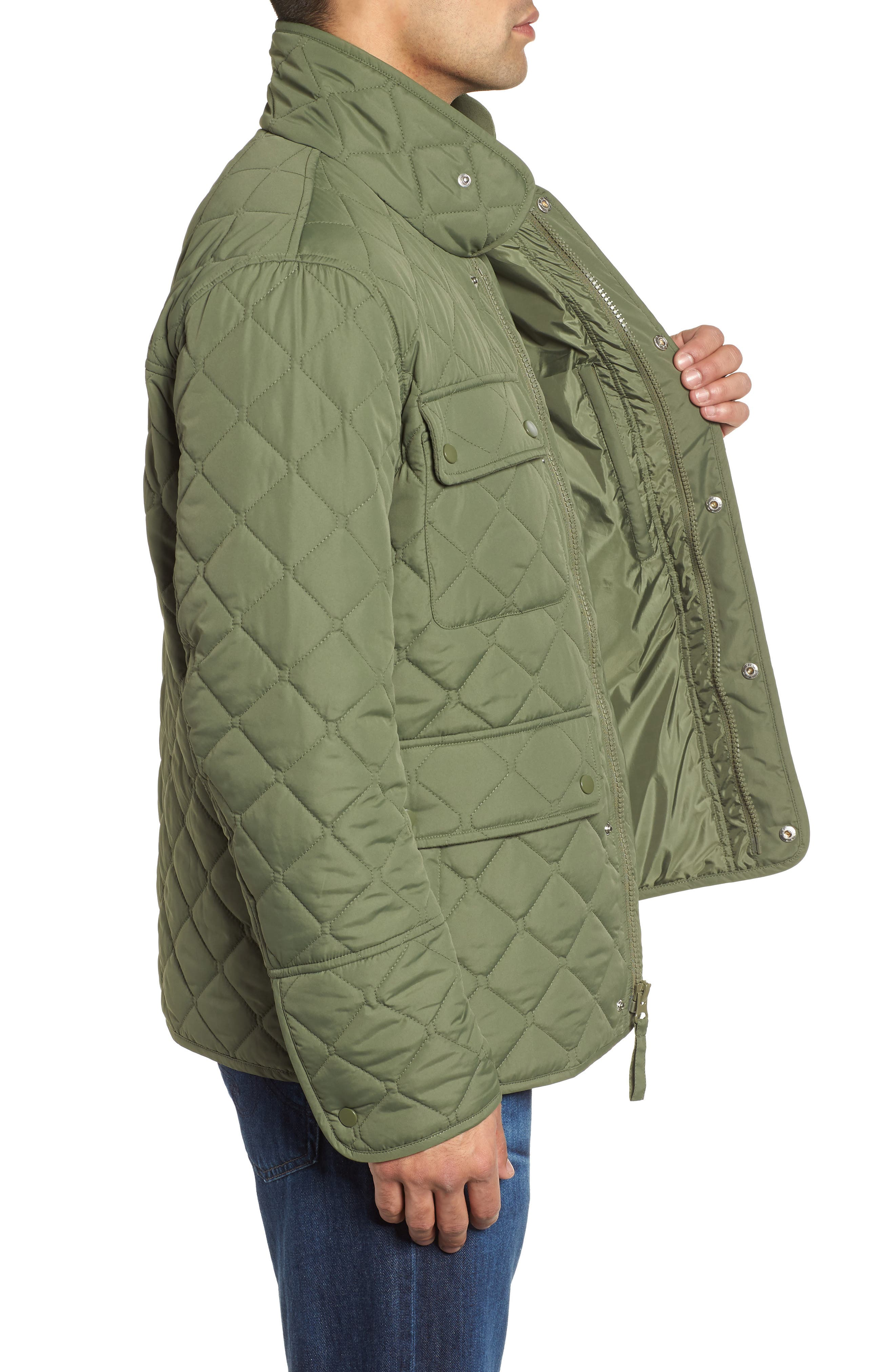 MARC NEW YORK, Canal Quilted Barn Jacket, Alternate thumbnail 4, color, OLIVE