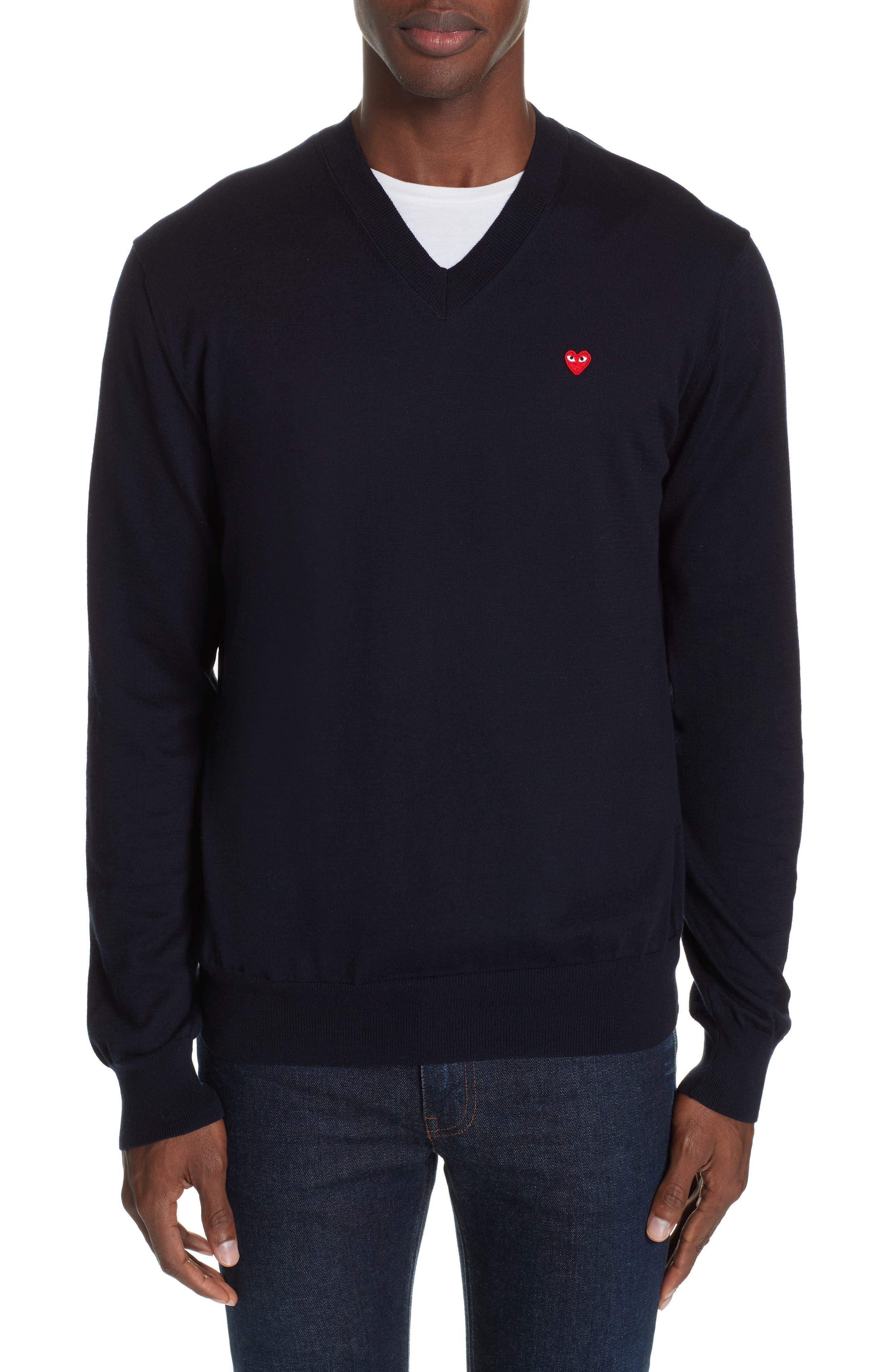 COMME DES GARÇONS PLAY, Cotton Logo Sweater, Main thumbnail 1, color, NAVY