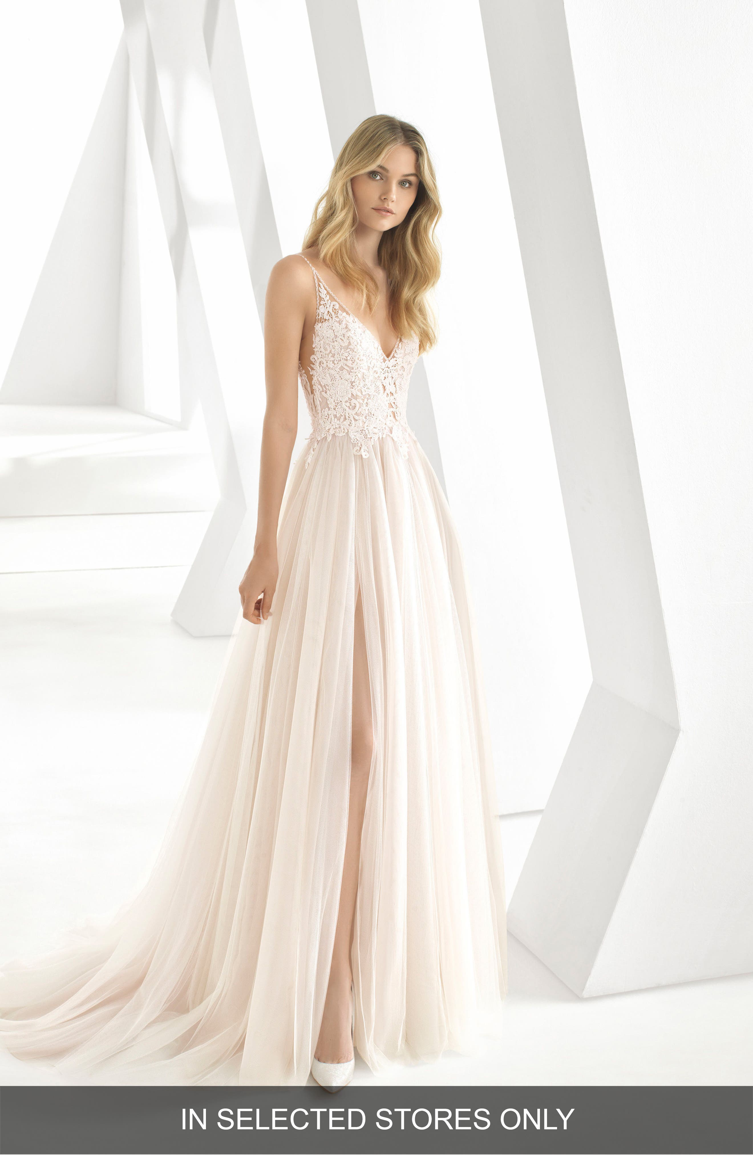 ROSA CLARÁ, Donata Front Slit Lace & Tulle Wedding Gown, Main thumbnail 1, color, NATURAL/ NUDE
