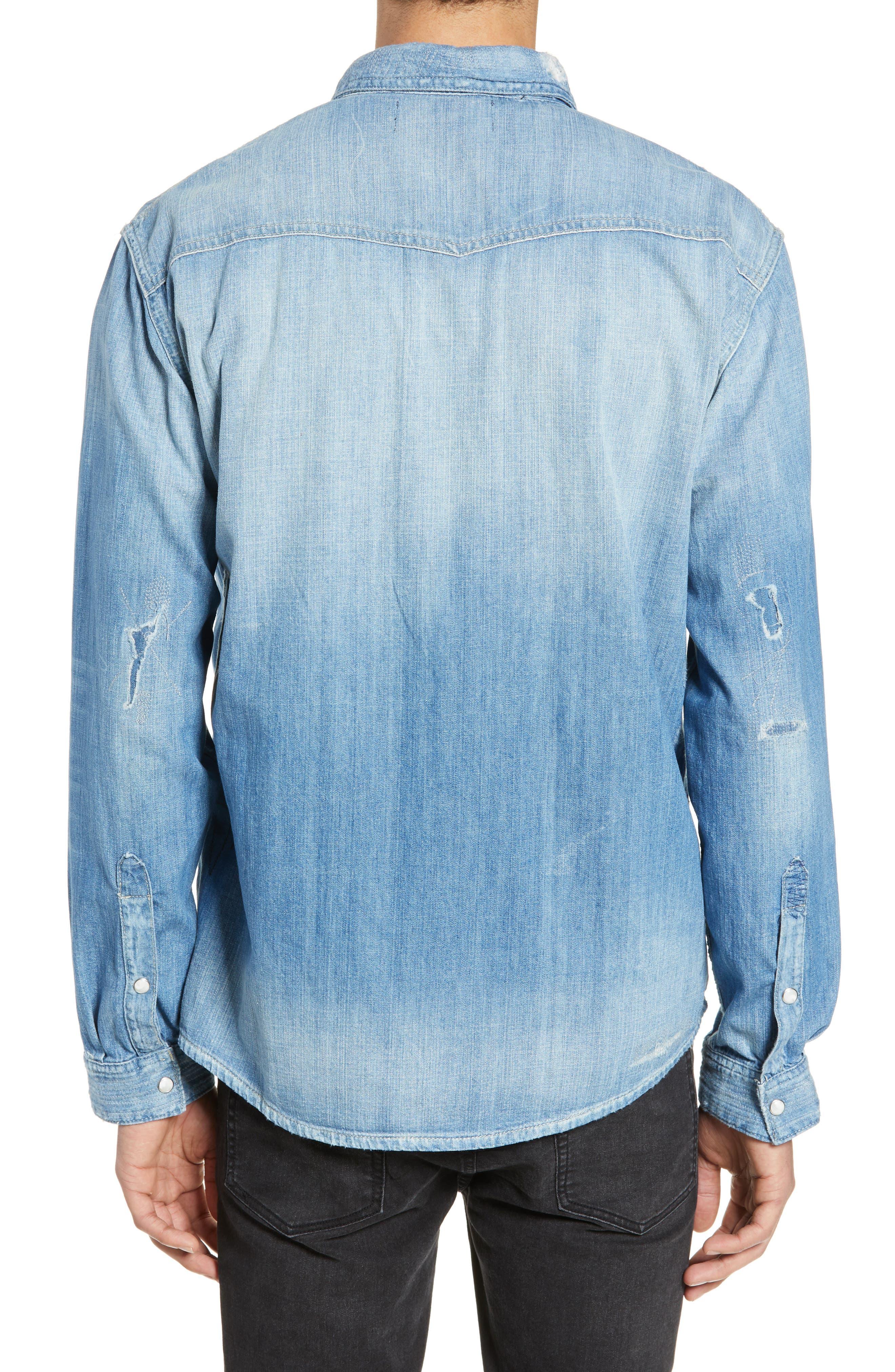 THE KOOPLES, Ripped Denim Shirt, Alternate thumbnail 2, color, BLUE DENIM