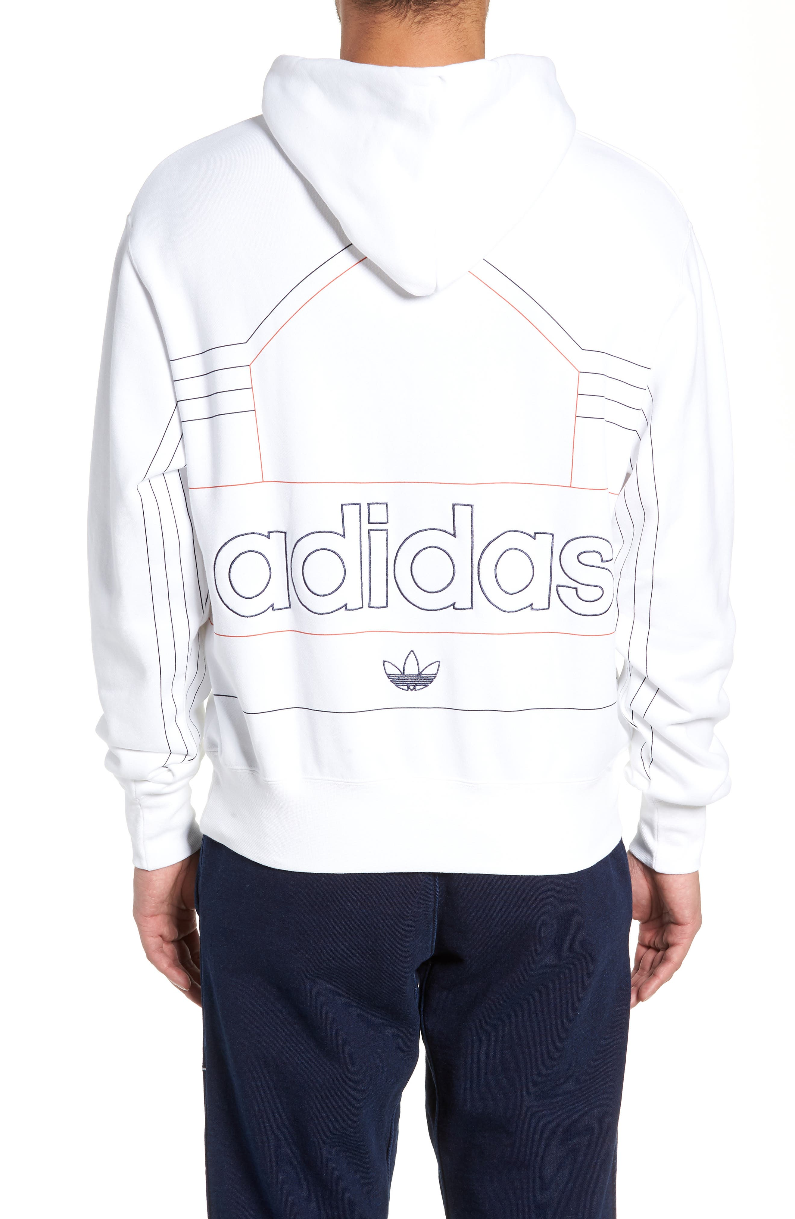 ADIDAS ORIGINALS, Ewing Hooded Sweatshirt, Alternate thumbnail 2, color, WHITE/ RAW AMBER