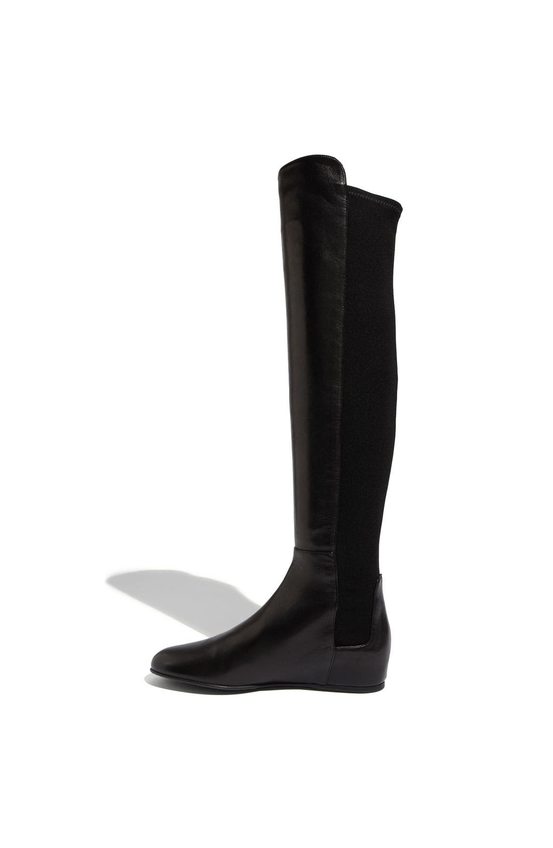 STUART WEITZMAN, 'Mainline' Stretch Fabric & Nappa Leather Over the Knee Boot, Alternate thumbnail 4, color, 002