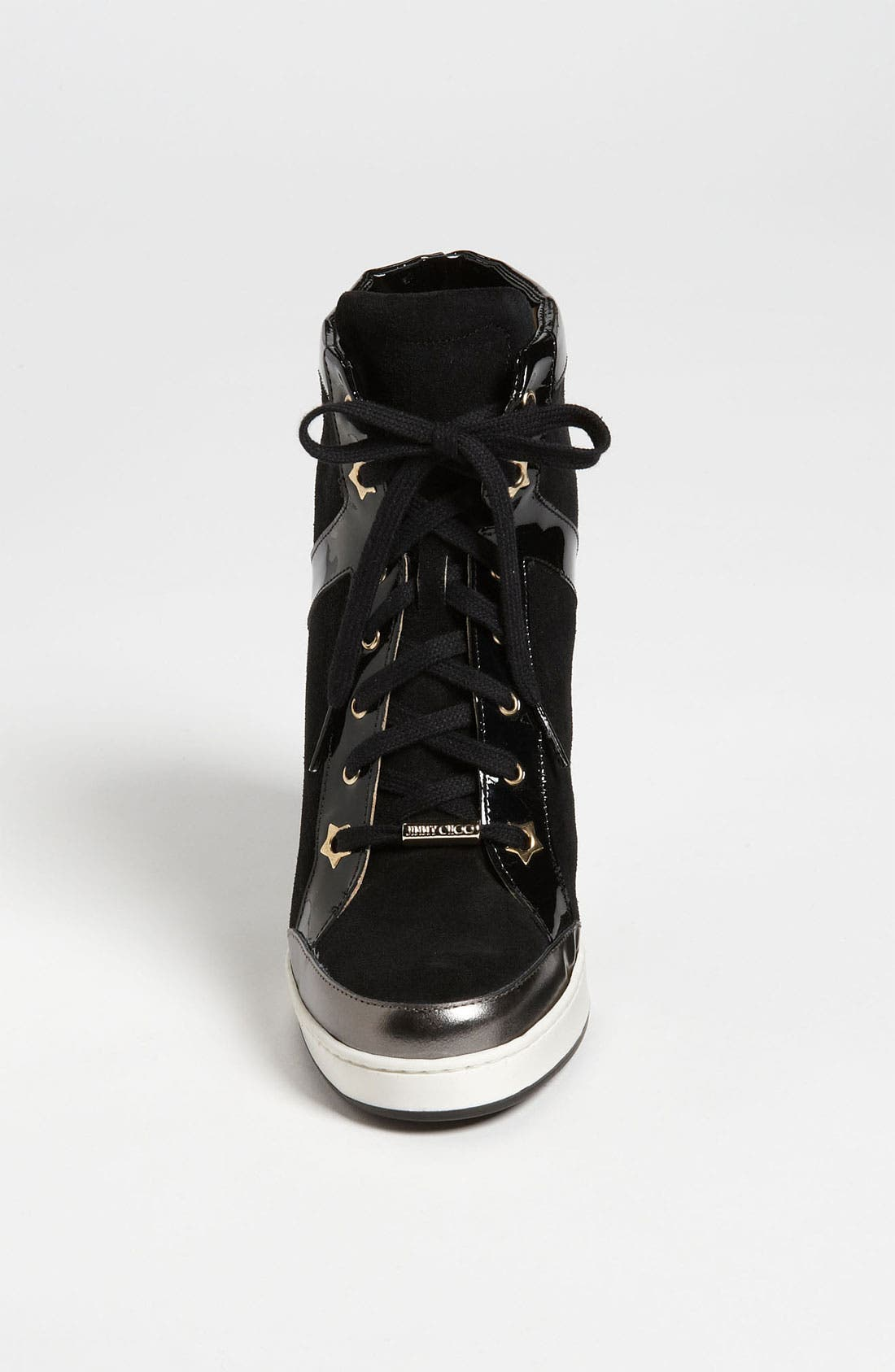 JIMMY CHOO, 'Panama' Wedge Sneaker, Alternate thumbnail 2, color, 001