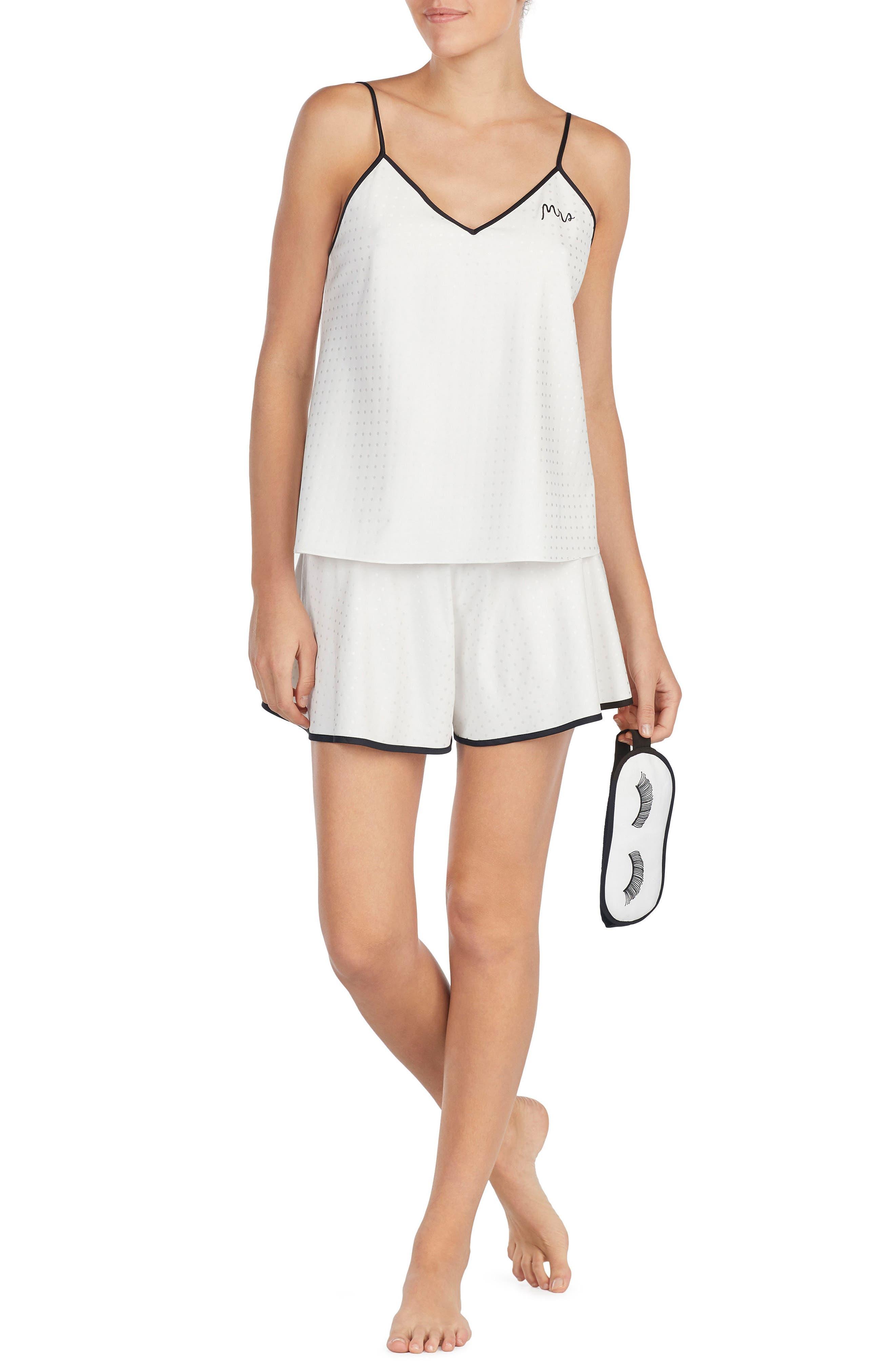 KATE SPADE NEW YORK mrs pajamas & sleep mask, Main, color, OFF WHITE