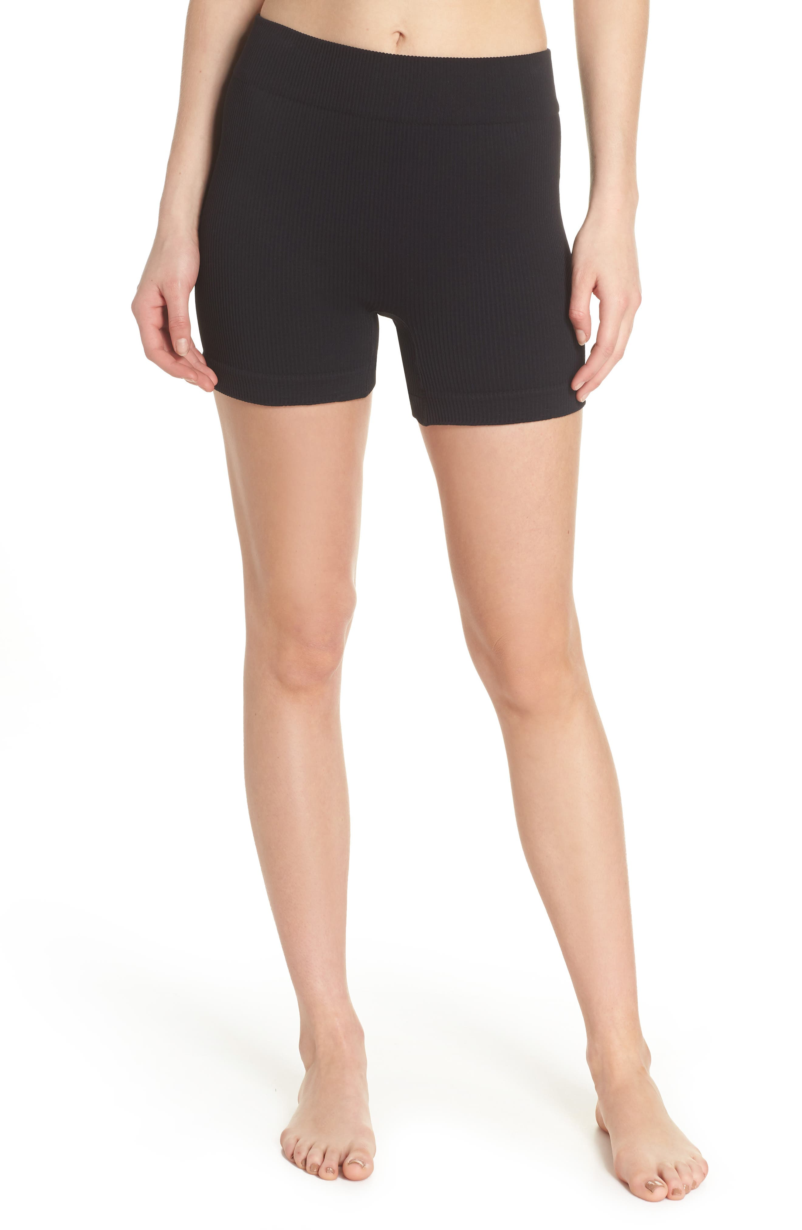 FREE PEOPLE MOVEMENT Seamless Shorts, Main, color, BLACK