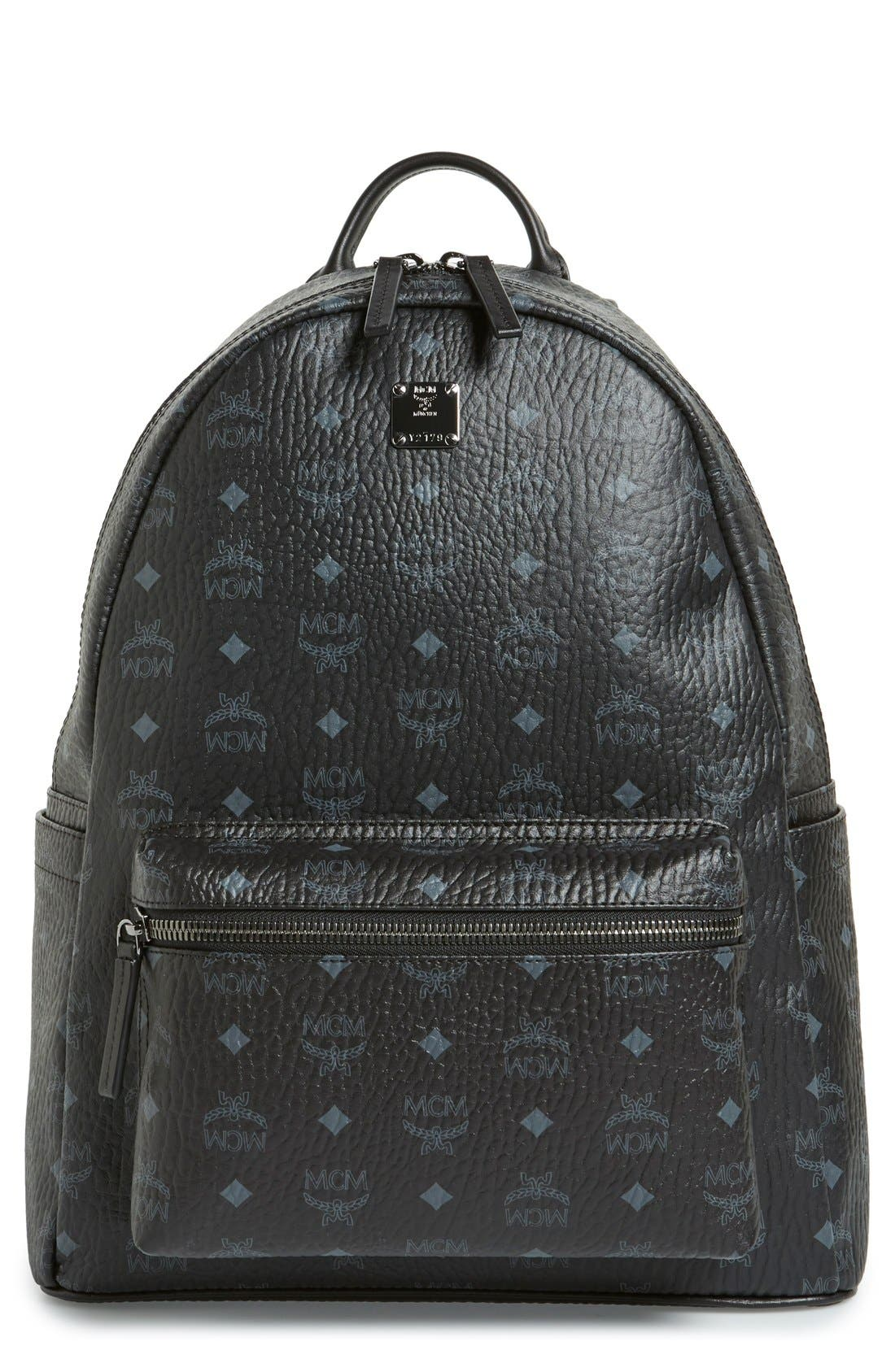 MCM Medium Stark - Visetos Backpack, Main, color, BLACK