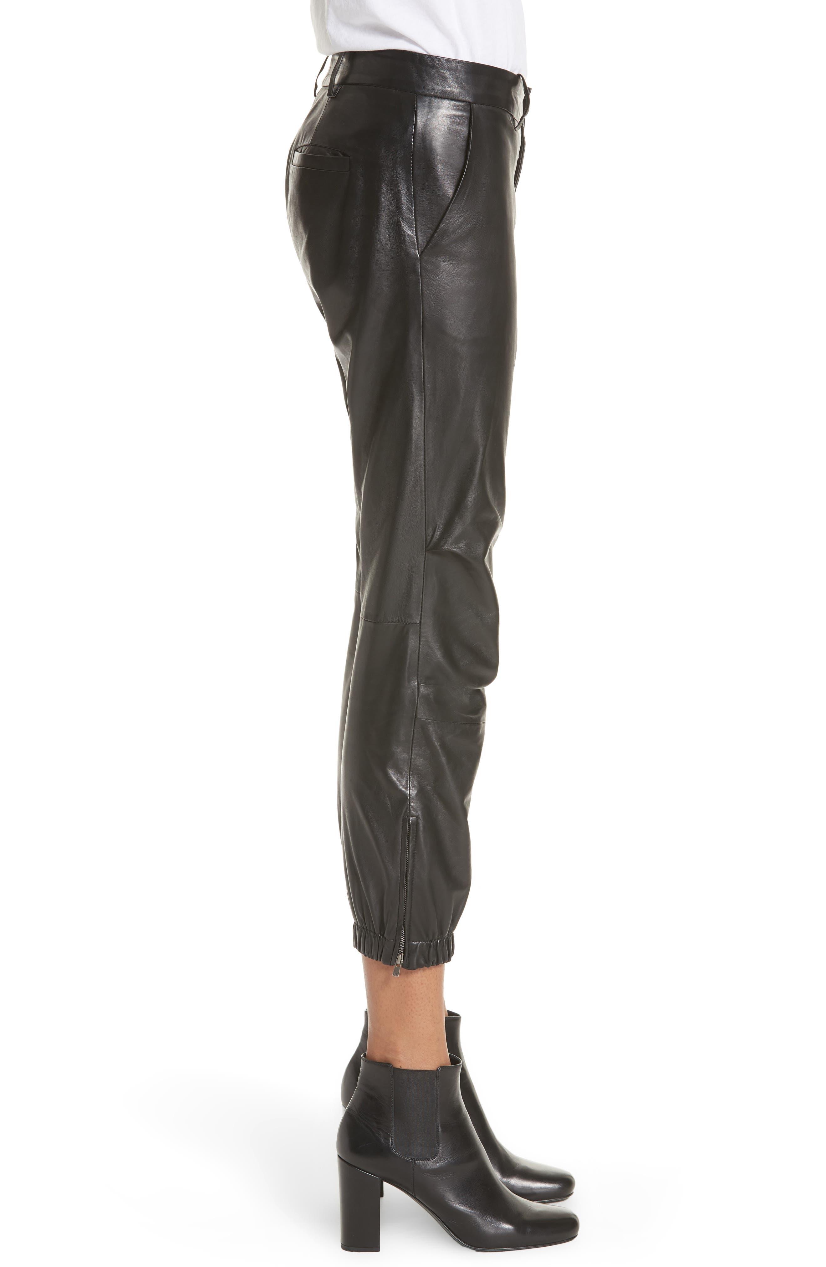 NILI LOTAN, French Military Leather Crop Pants, Alternate thumbnail 3, color, BLACK