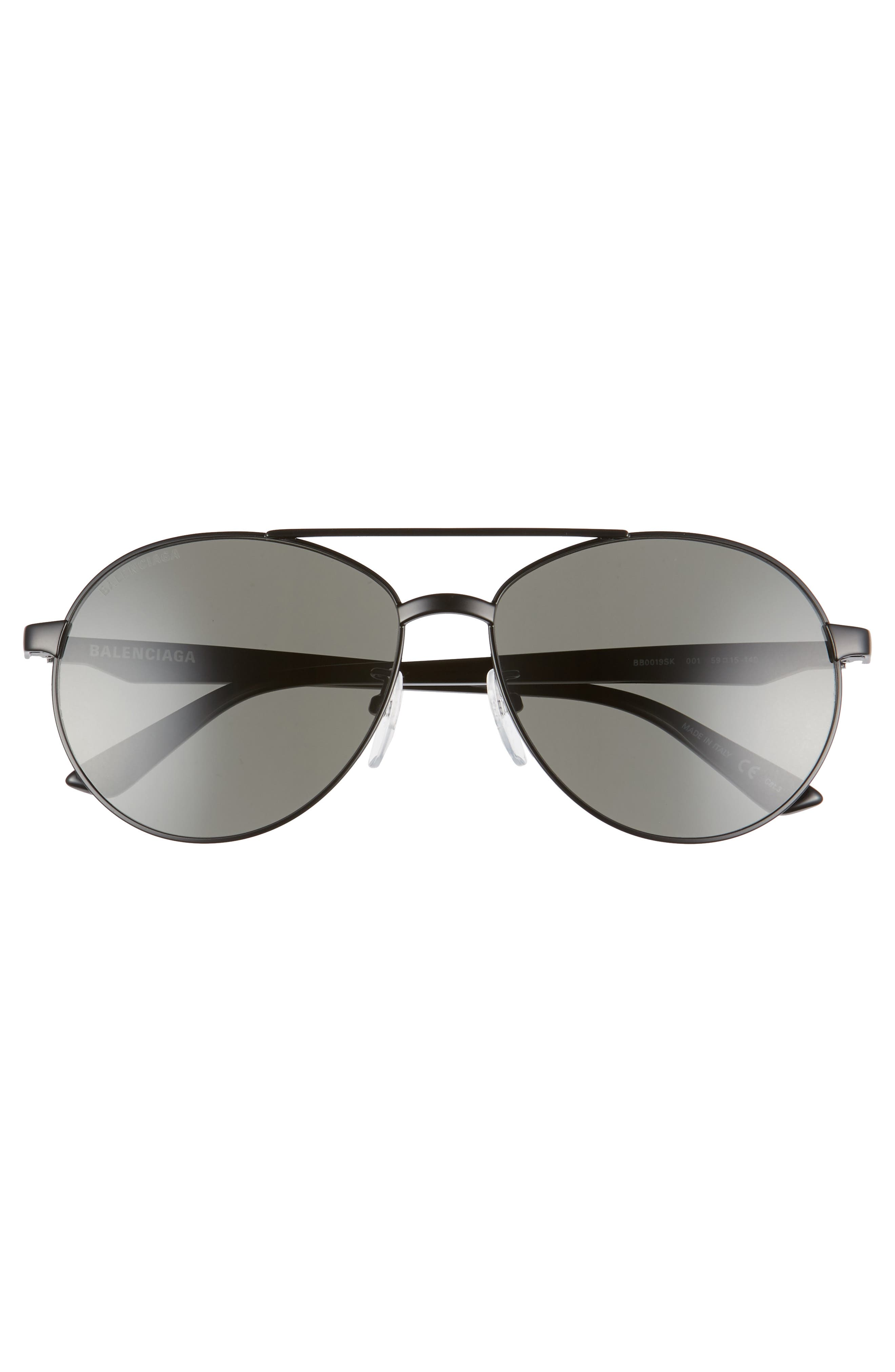 BALENCIAGA, 59mm Aviator Sunglasses, Alternate thumbnail 3, color, SEMI-MATTE BLACK/ GREY