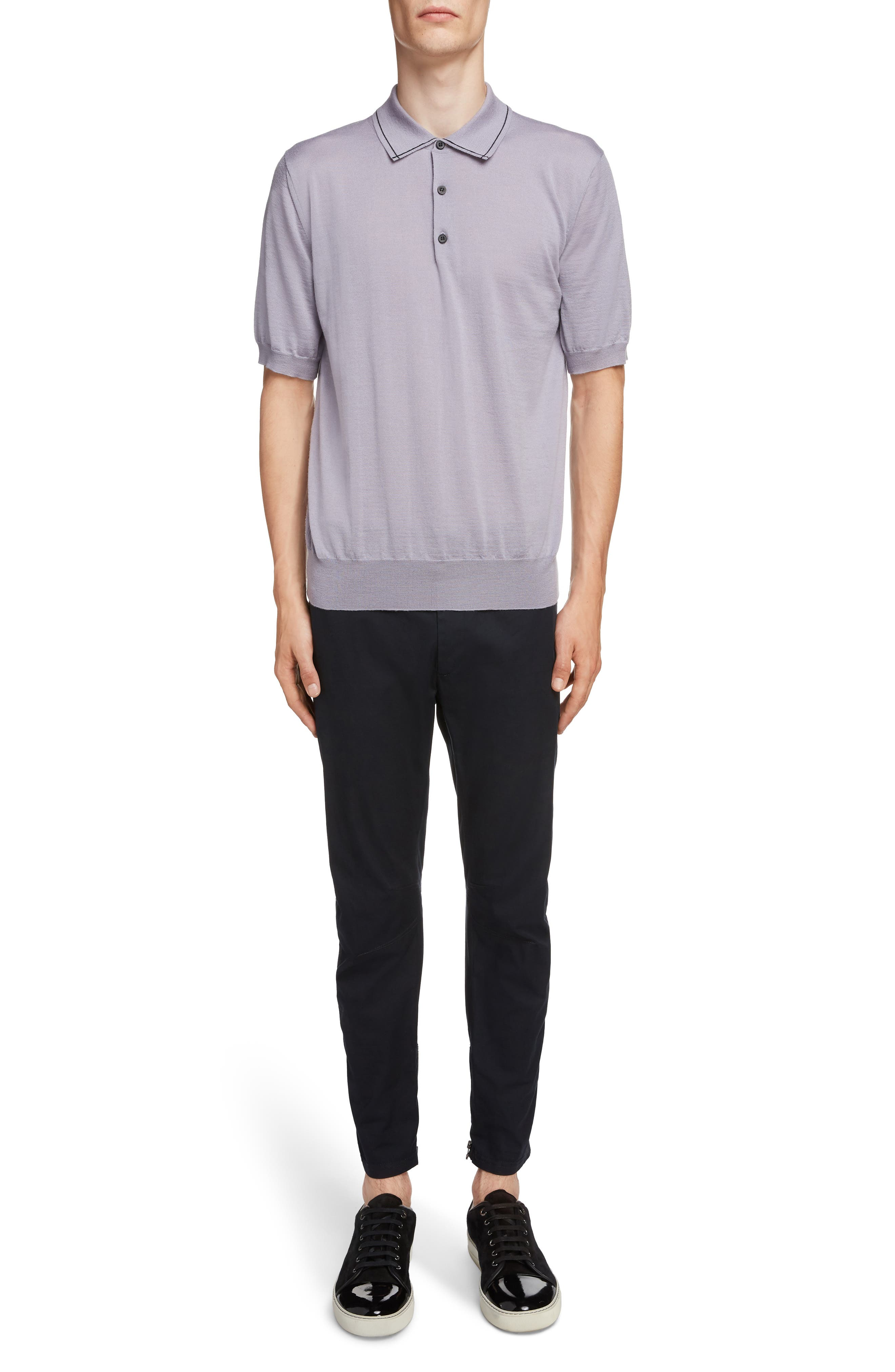 LANVIN, Piped Collar Wool Polo, Alternate thumbnail 6, color, LAVENDER