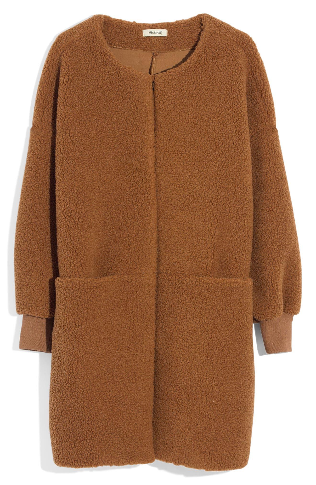 MADEWELL, Bonded Fleece Cocoon Coat, Alternate thumbnail 6, color, 200
