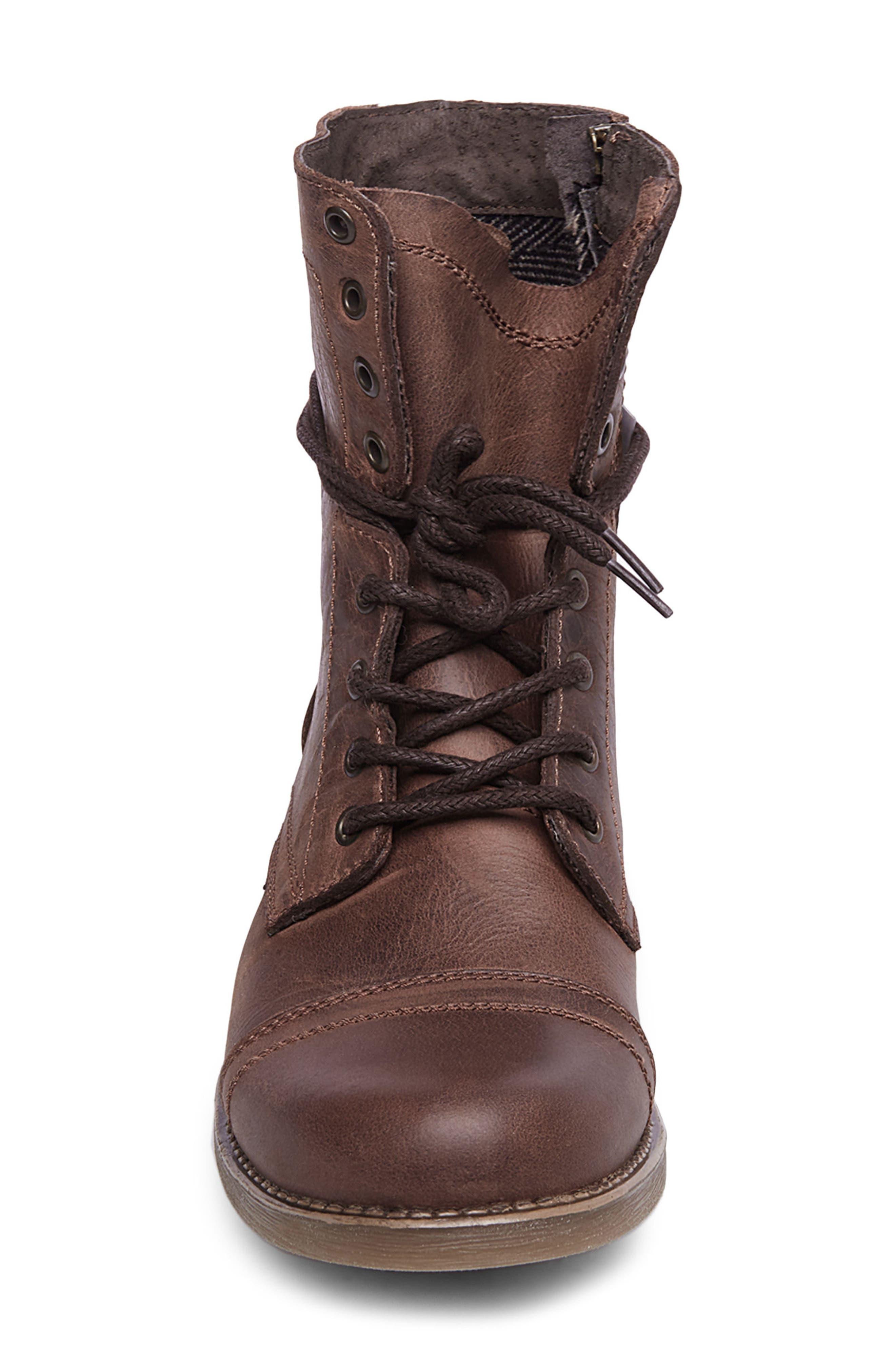 STEVE MADDEN, Troopah-C Cap Toe Boot, Alternate thumbnail 4, color, BROWN LEATHER