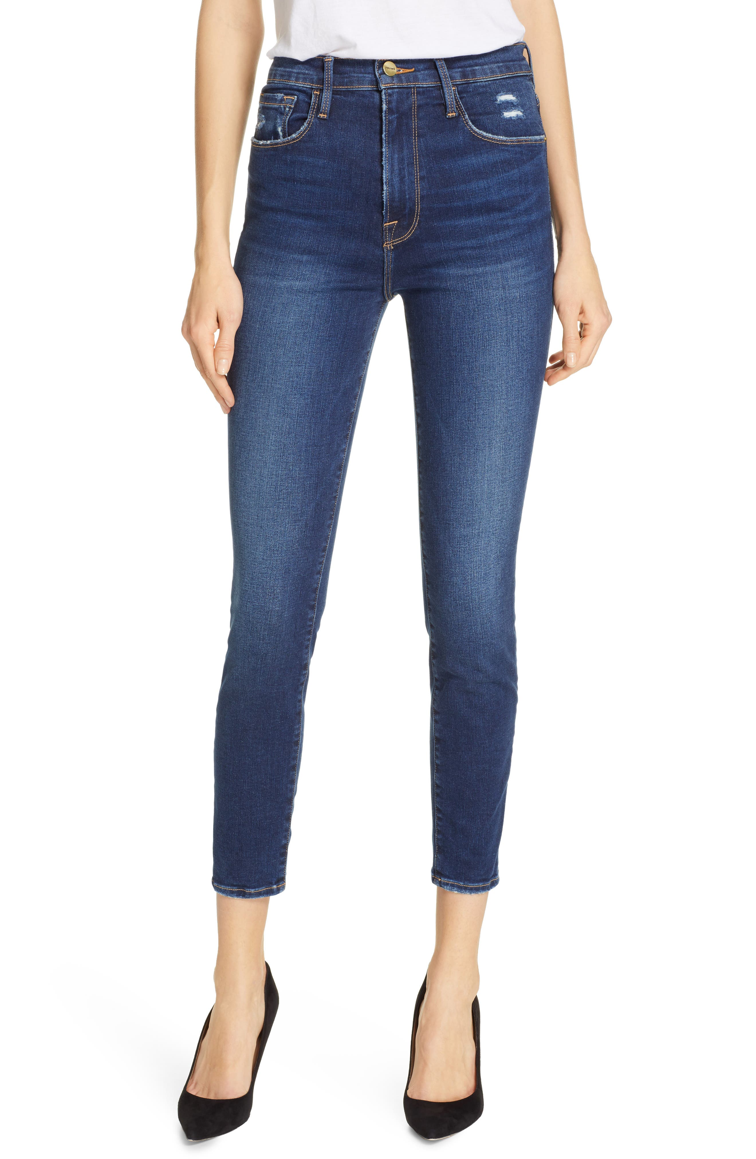 FRAME, Ali High Waist Crop Cigarette Skinny Jeans, Main thumbnail 1, color, MANO