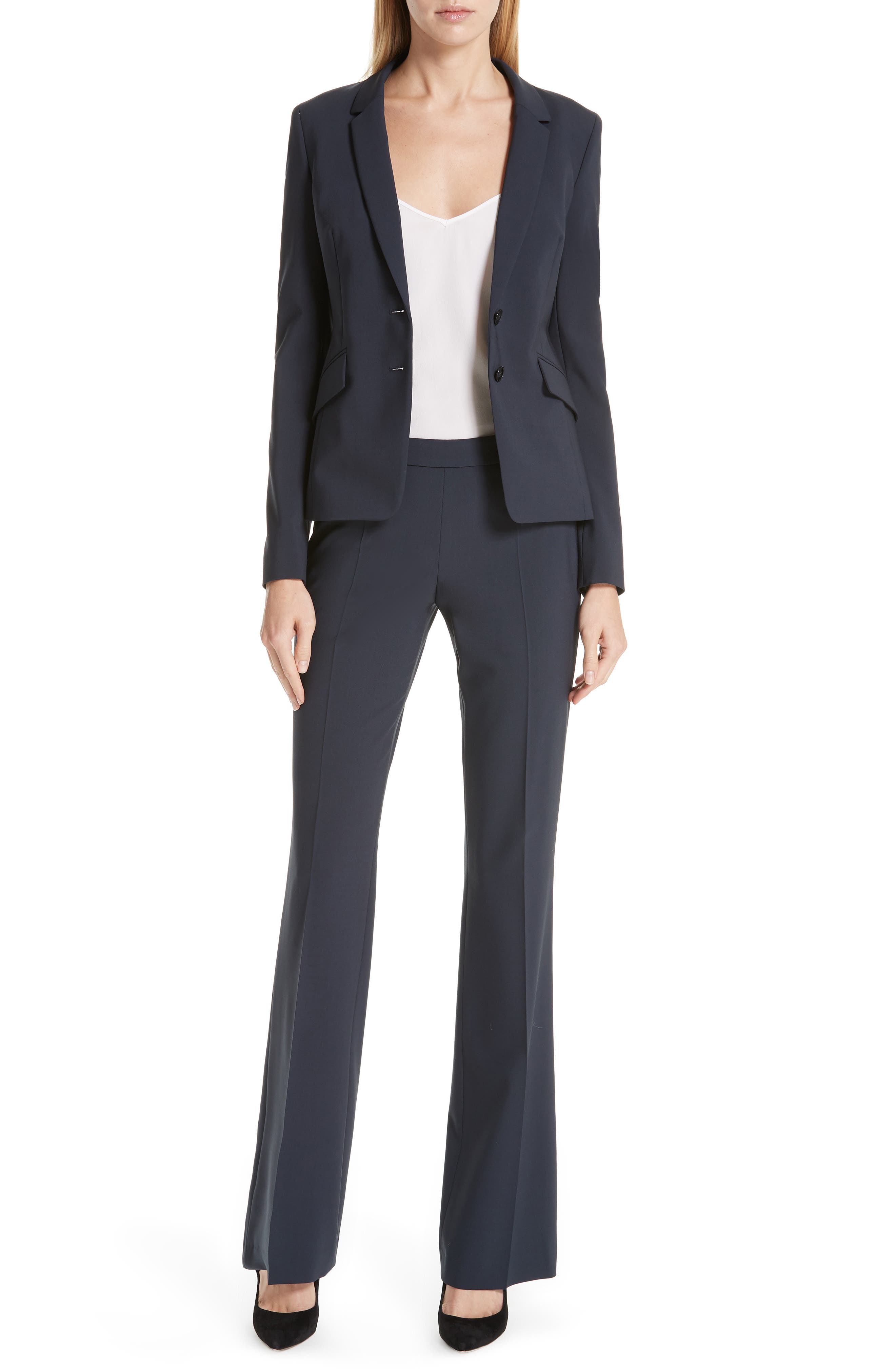 BOSS, Tulea Side Zip Tropical Stretch Wool Trousers, Alternate thumbnail 8, color, NAVY