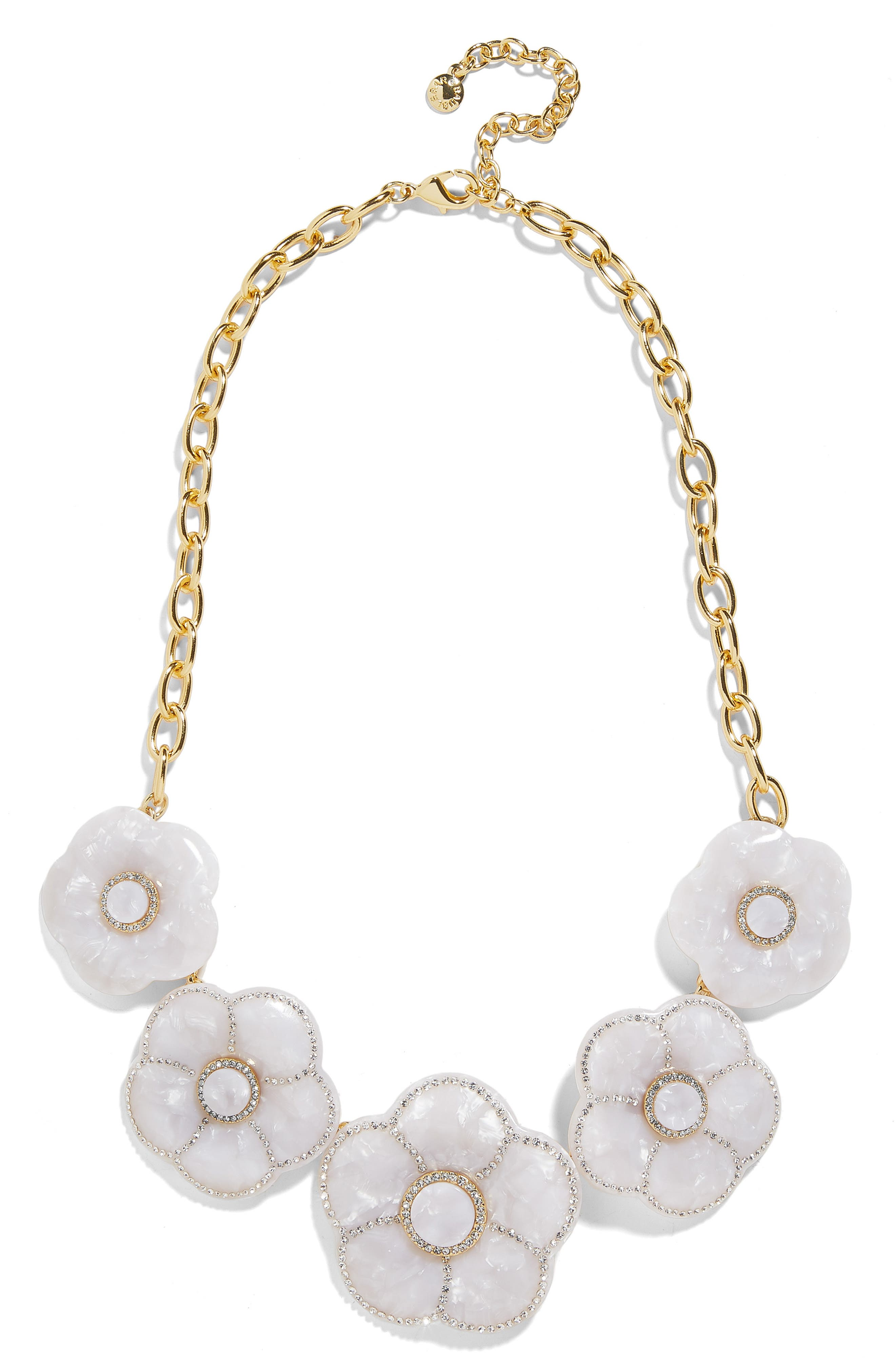 BAUBLEBAR, Madelaina Resin Flower Necklace, Main thumbnail 1, color, WHITE
