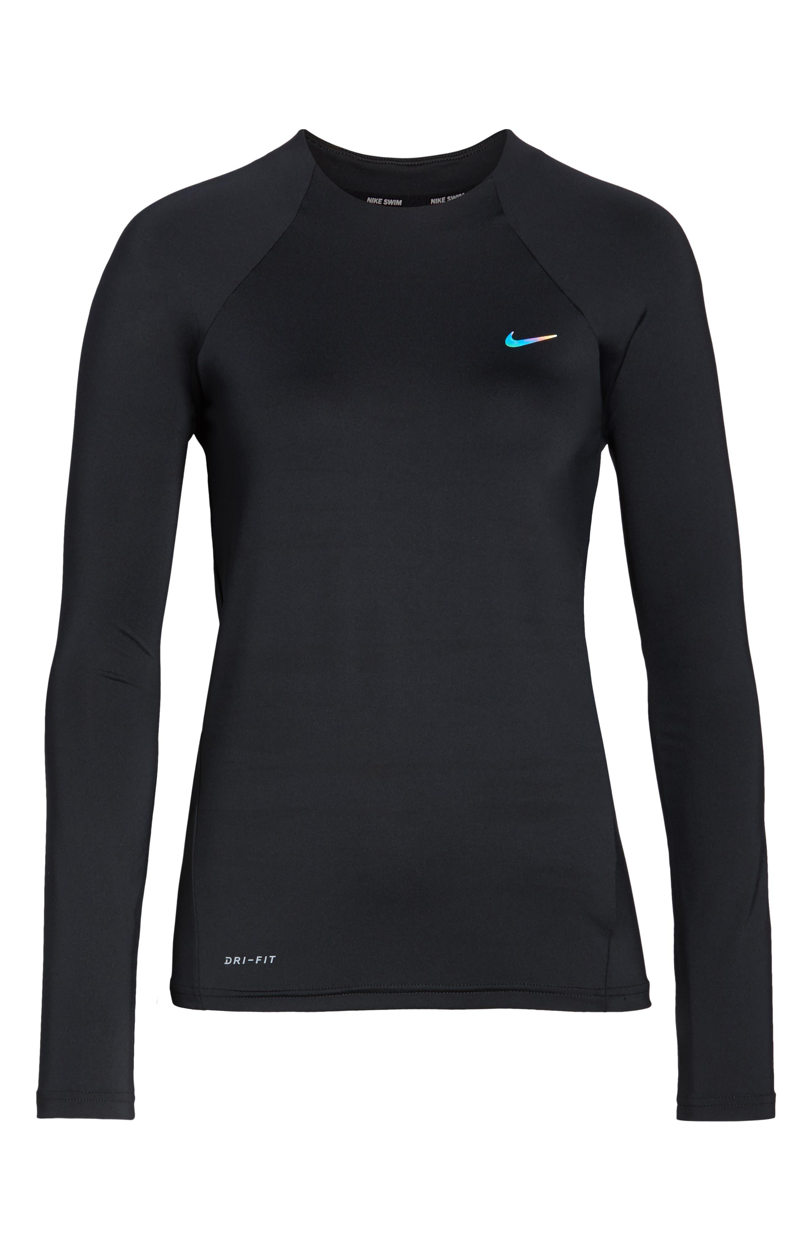 NIKE, Long Sleeve Hydroguard Shirt, Alternate thumbnail 7, color, BLACK