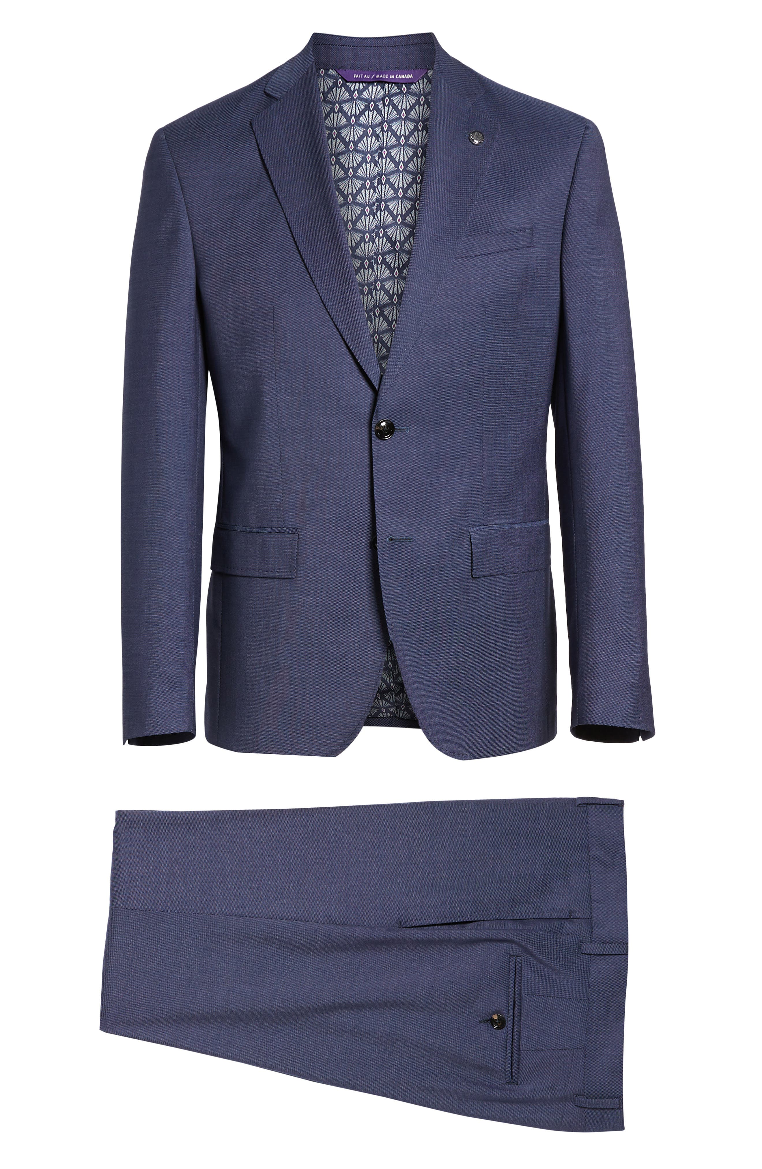 TED BAKER LONDON, Roger Slim Fit Solid Wool Suit, Alternate thumbnail 8, color, BLUE