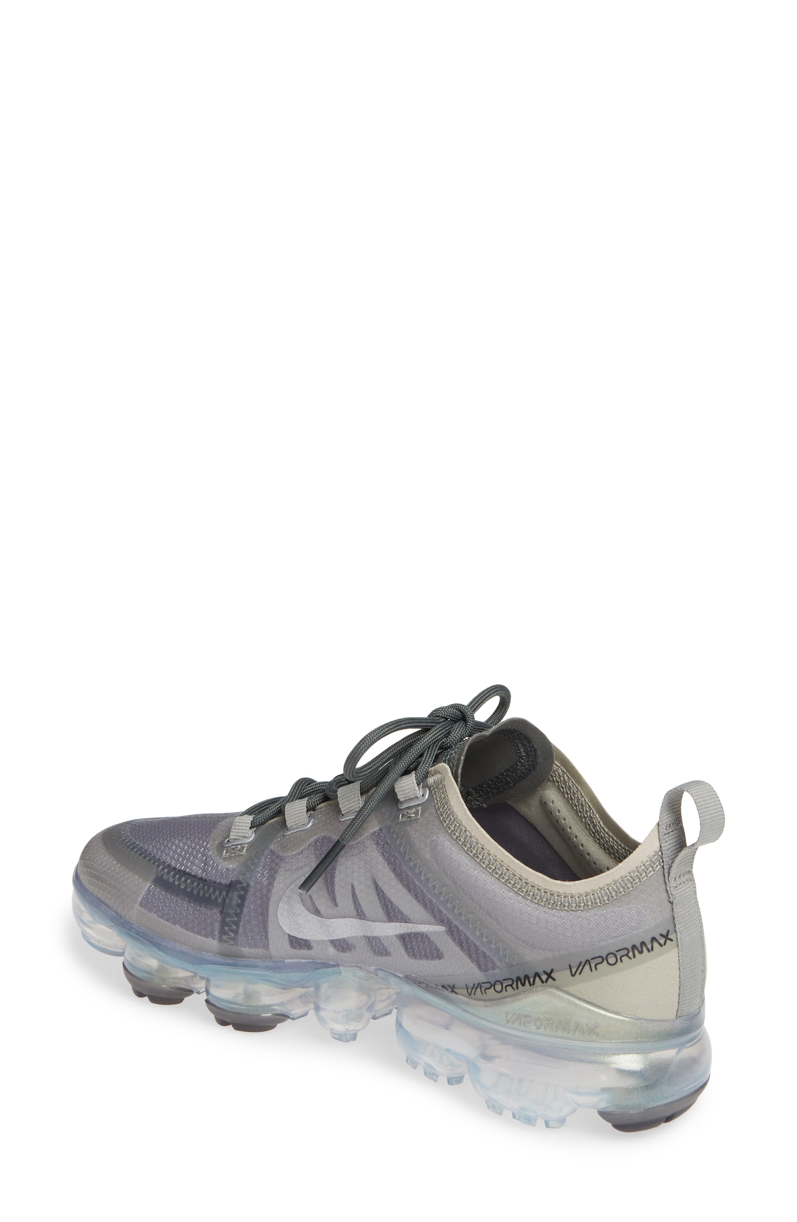 NIKE, Air VaporMax 2019 Running Shoe, Alternate thumbnail 2, color, MINERAL SPRUCE/ SILVER