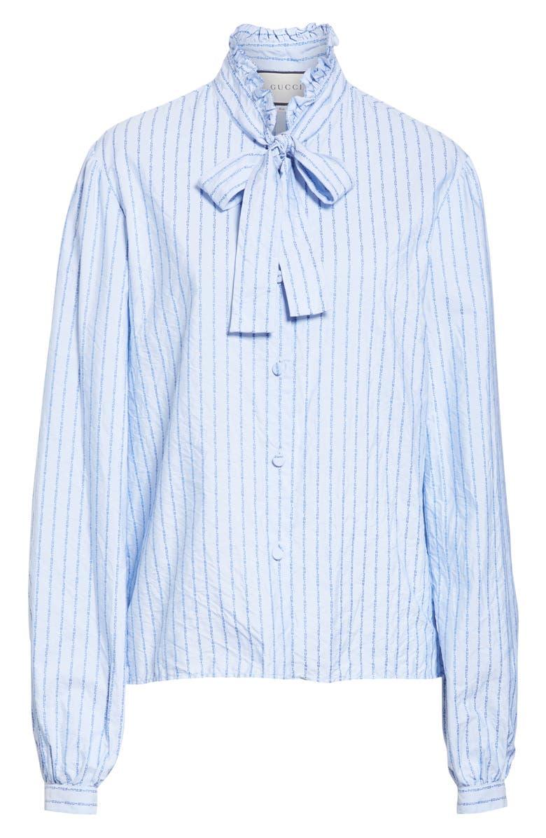 029146b47 Gucci Logo Stripe Tie Neck Blouse In Blue | ModeSens