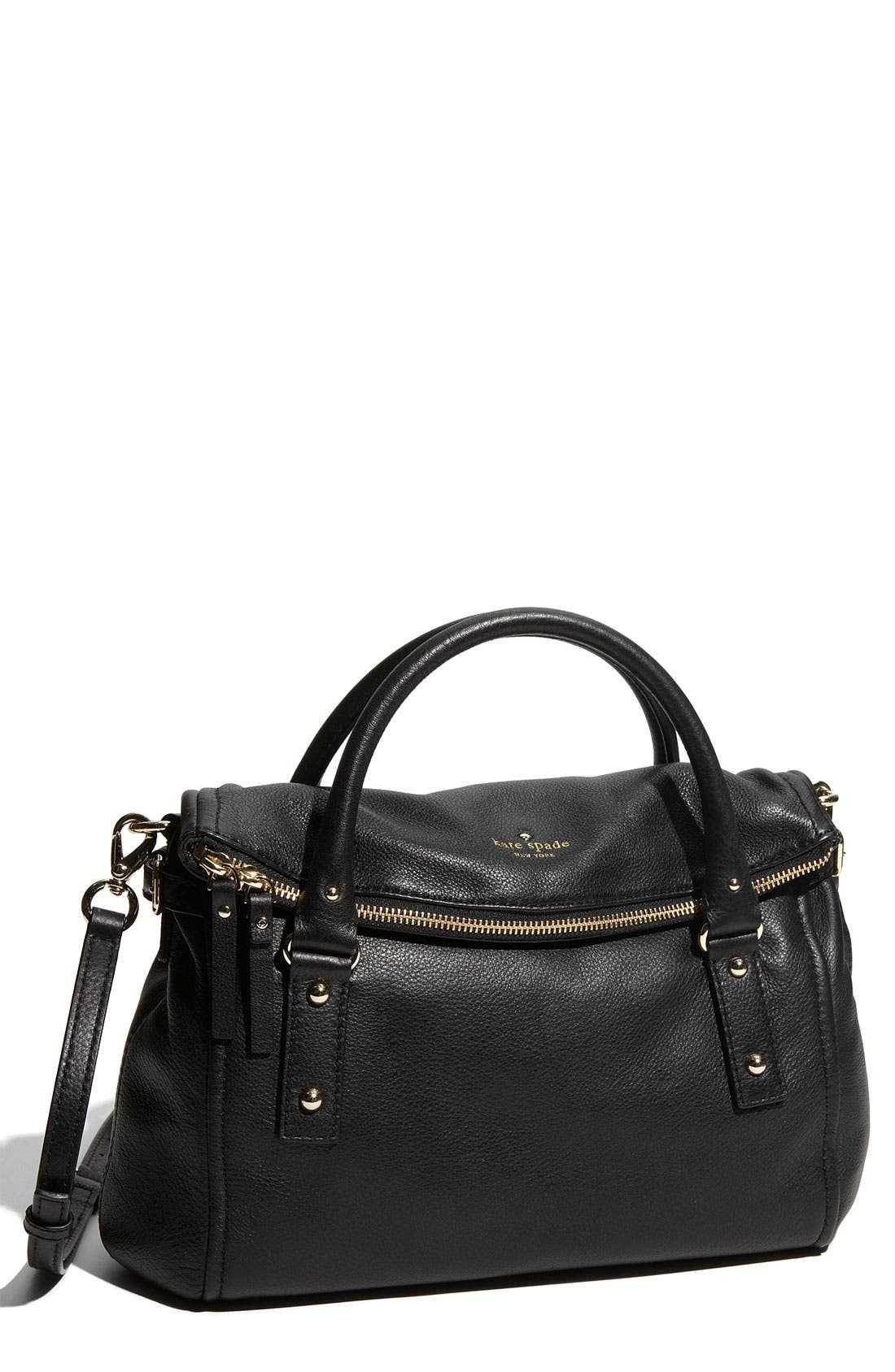 KATE SPADE NEW YORK, 'cobble hill - leslie small' leather satchel, Main thumbnail 1, color, 001