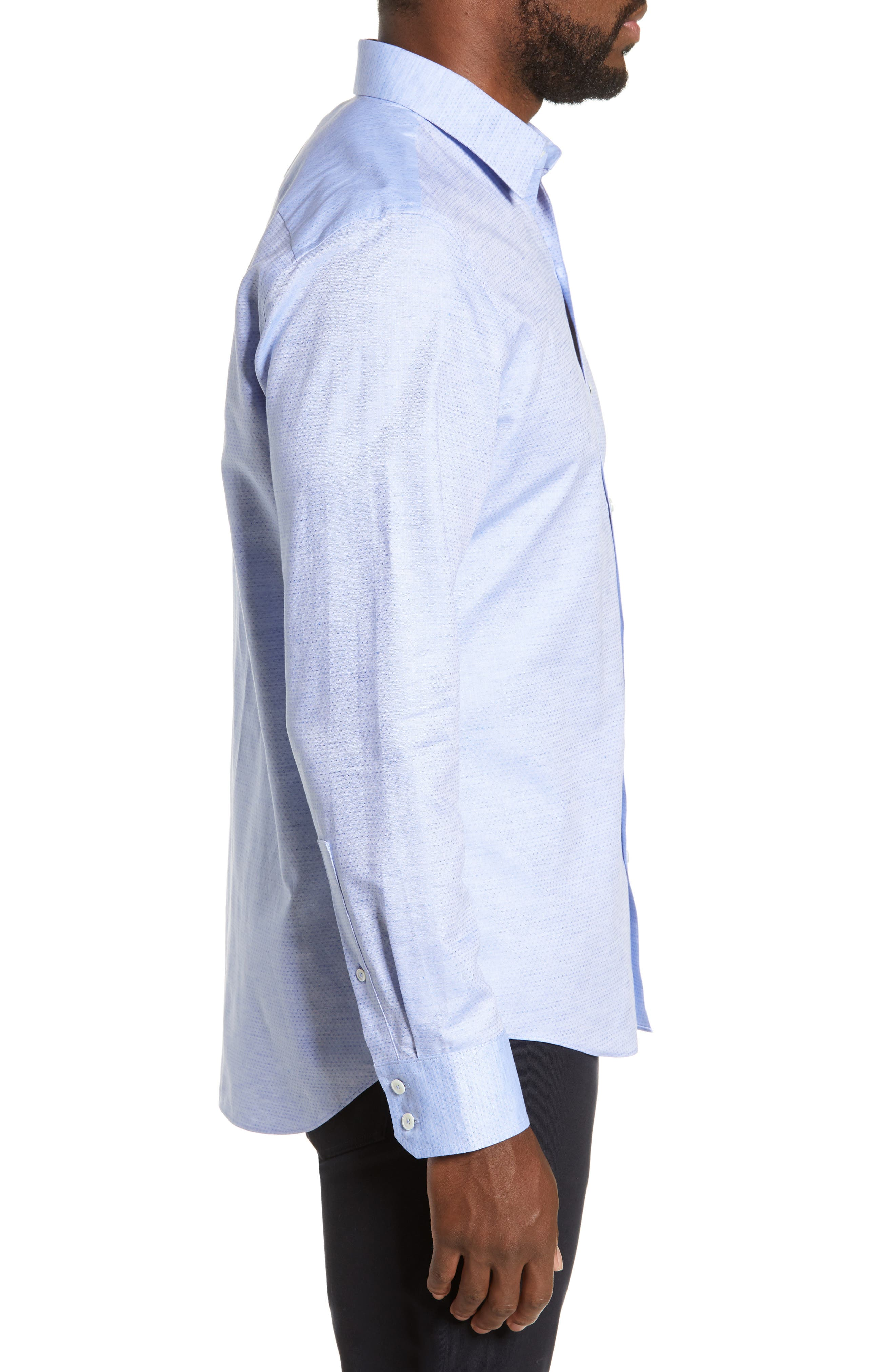 ZACHARY PRELL, Alfano Regular Fit Cotton & Linen Sport Shirt, Alternate thumbnail 4, color, LT BLUE