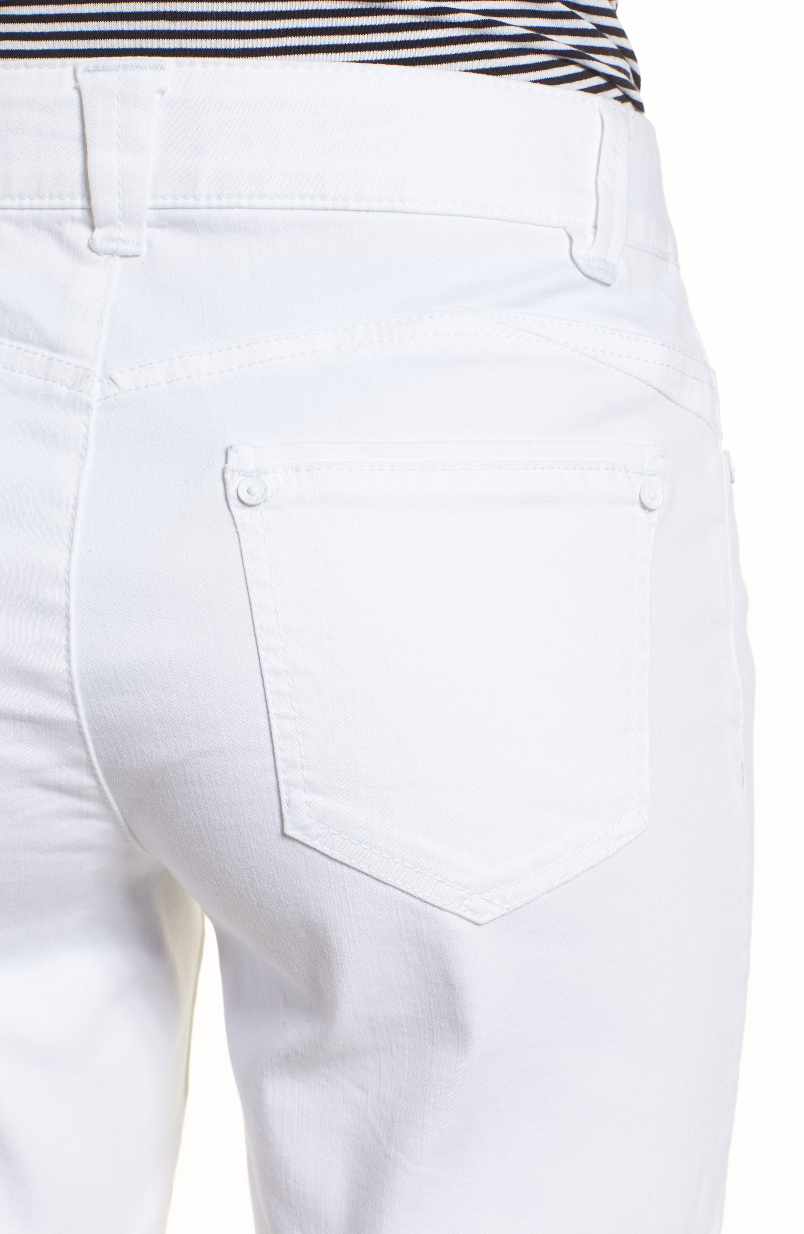 WIT & WISDOM, Ab-Solution White Denim Shorts, Alternate thumbnail 5, color, OPTIC WHITE