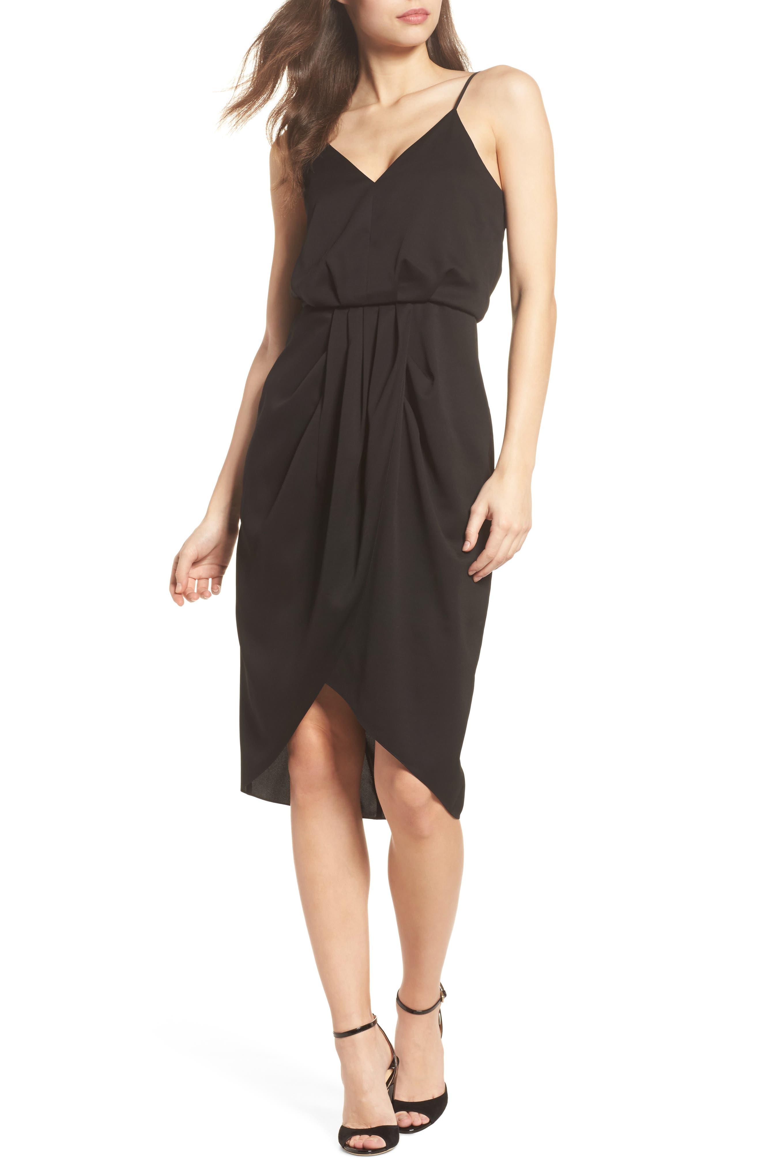 CHELSEA28, Print Faux Wrap Dress, Main thumbnail 1, color, BLACK