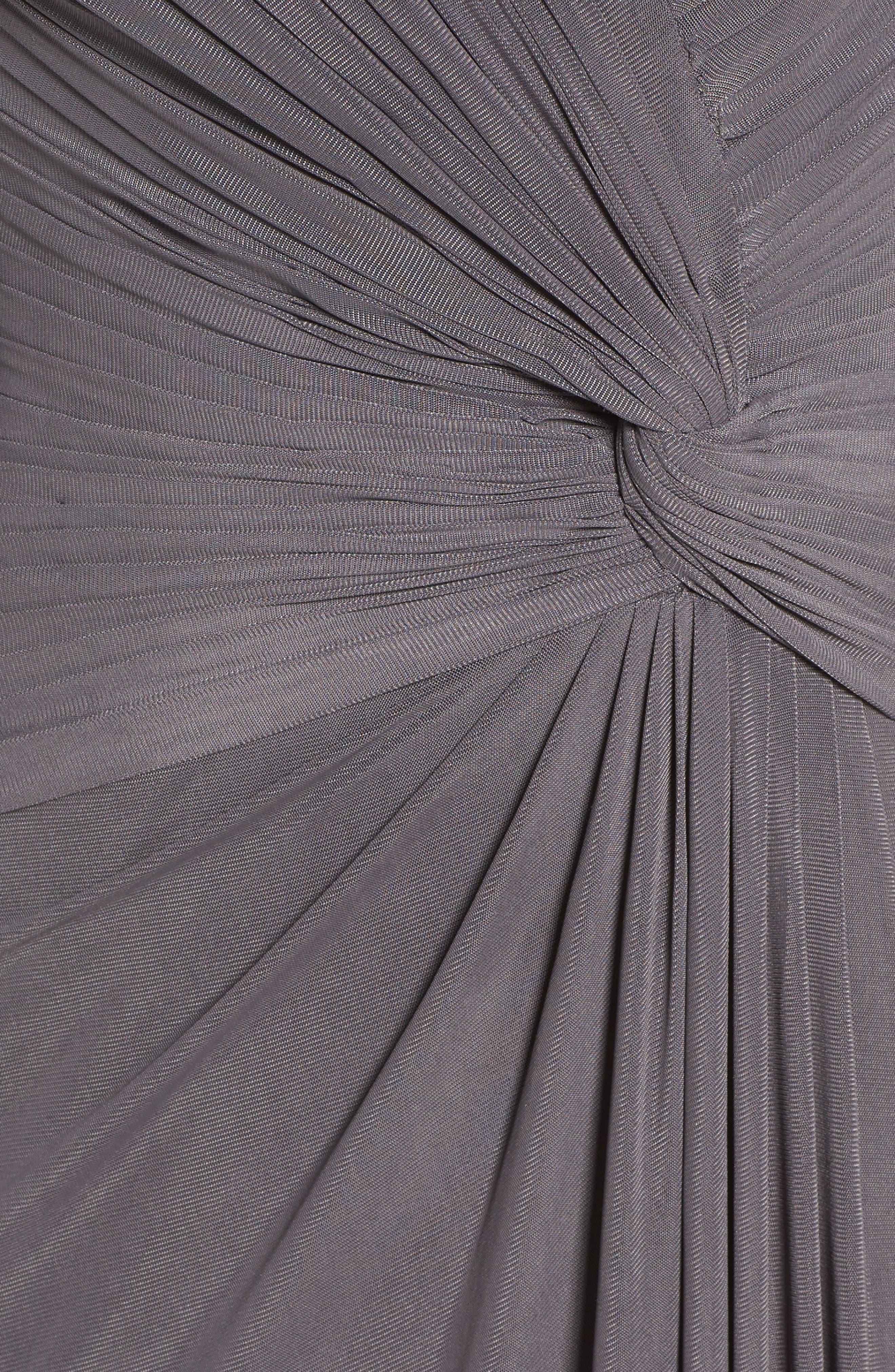 LA FEMME, Lace & Net Ruched Twist Front Gown, Alternate thumbnail 5, color, GUNMETAL