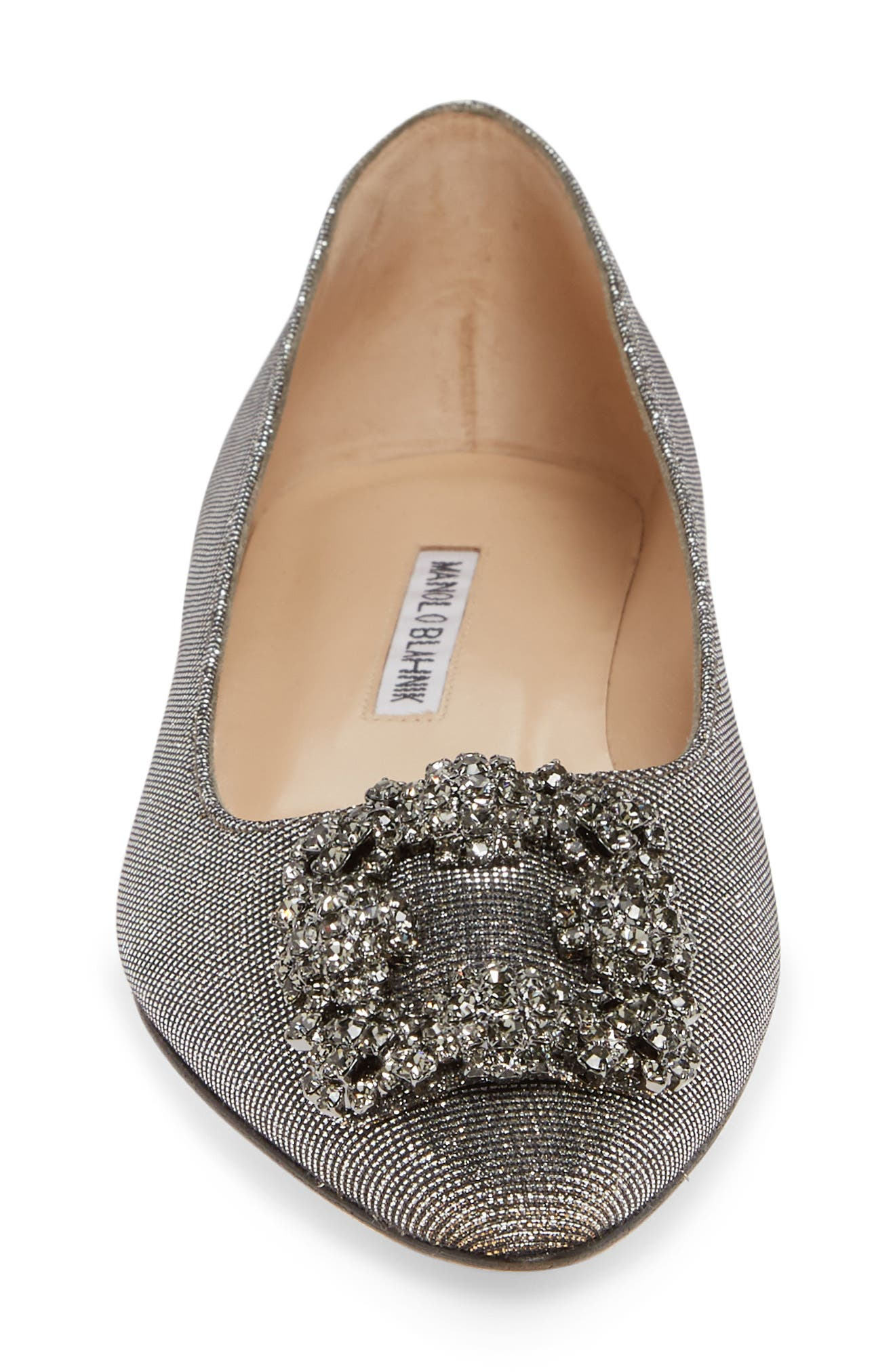 MANOLO BLAHNIK, 'Hangisi' Jeweled Pointy Toe Flat, Alternate thumbnail 4, color, BRONZE NOTTURNO