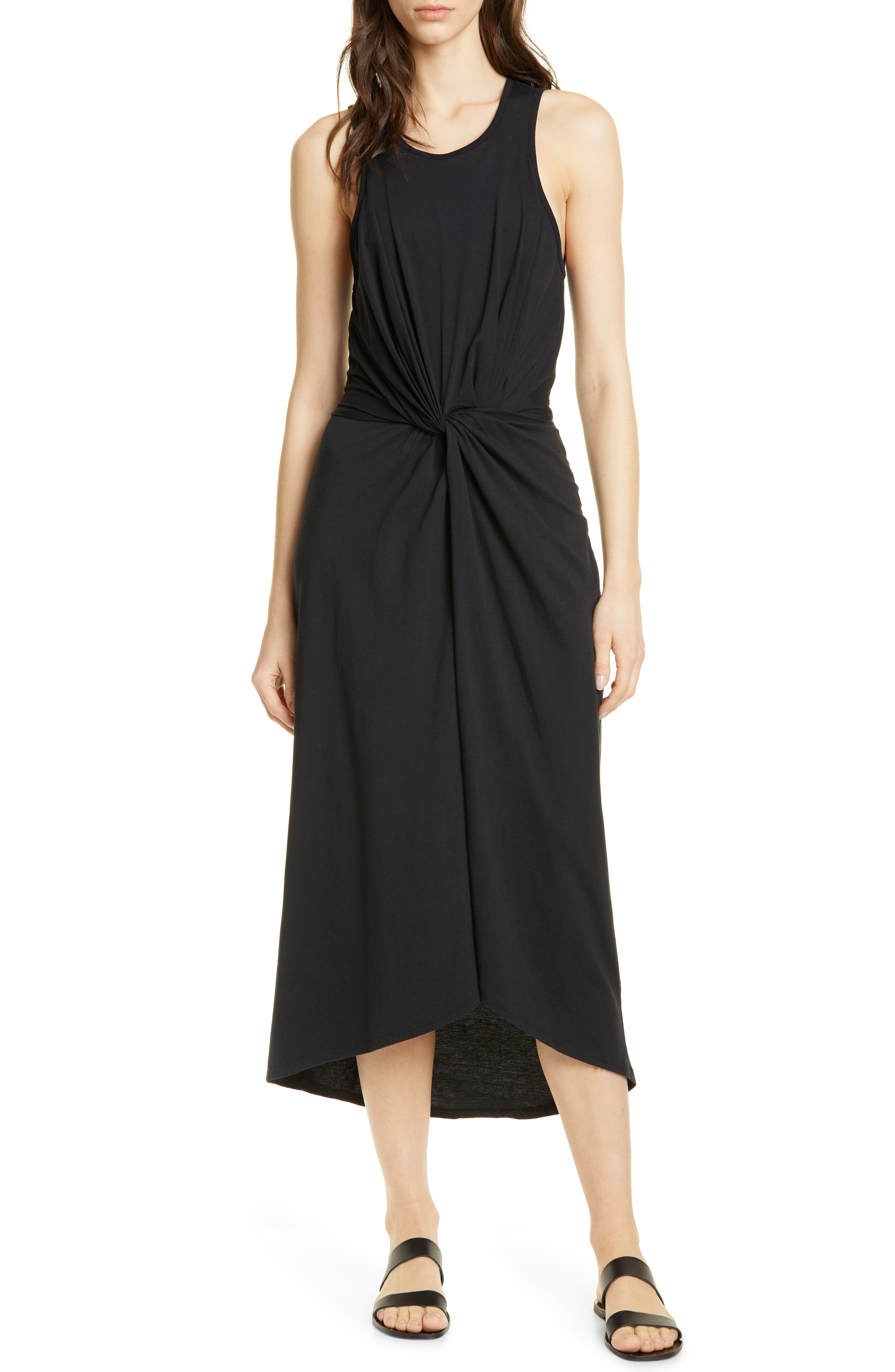 Joie Seamour Twist Front Midi Dress, Black