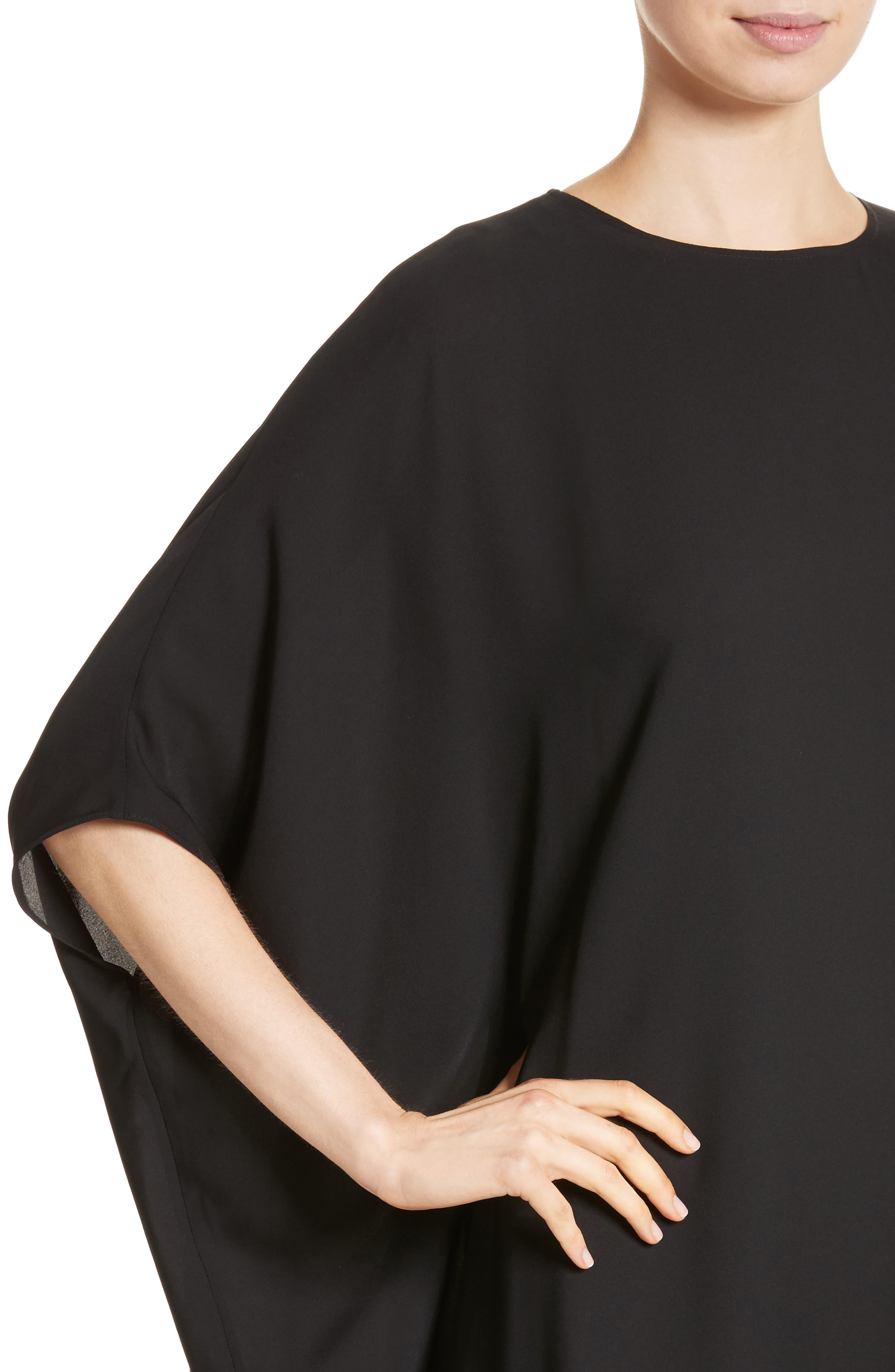 ST. JOHN COLLECTION, Double Silk Georgette Draped Dress, Alternate thumbnail 5, color, CAVIAR