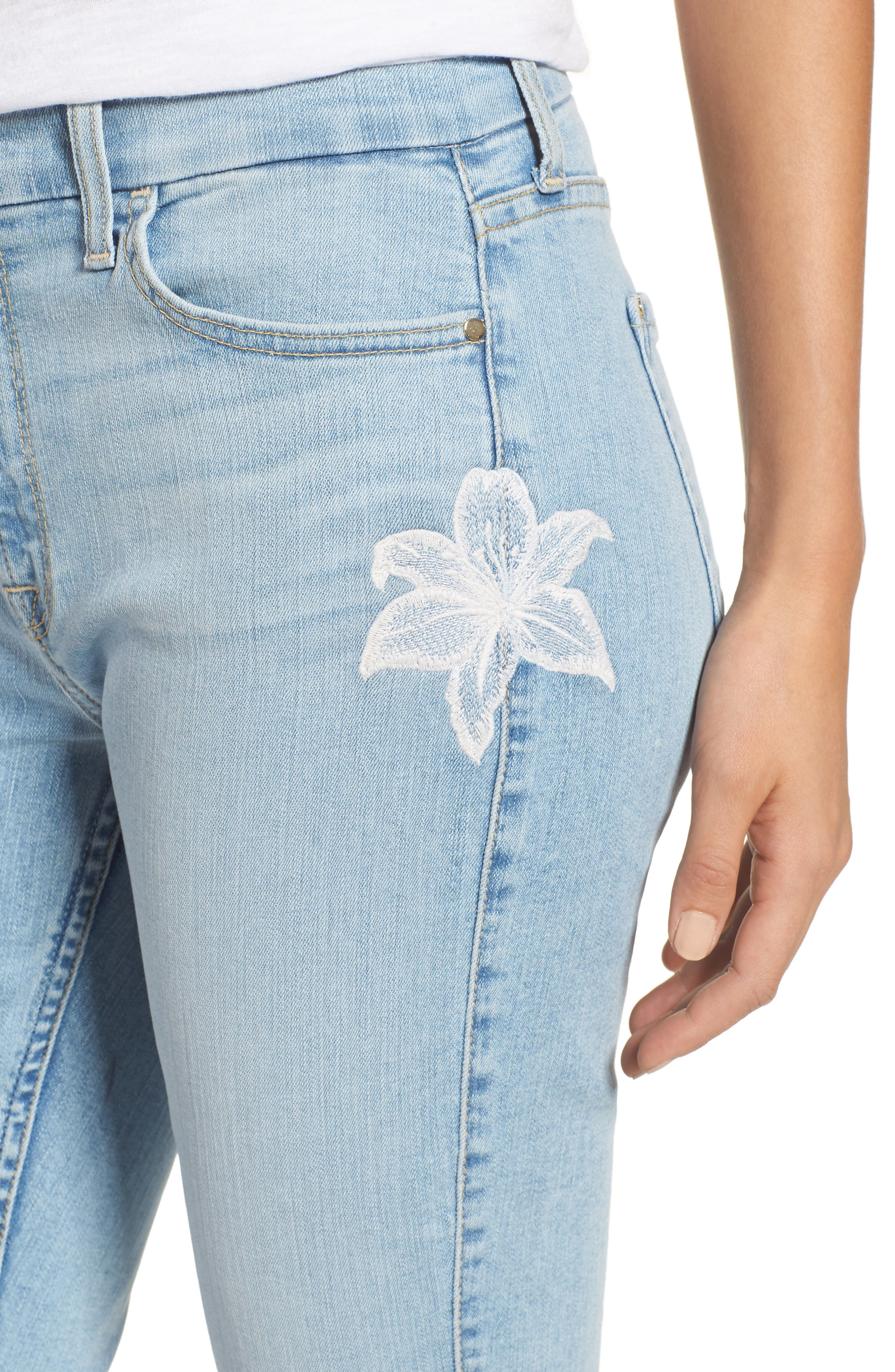 JEN7 BY 7 FOR ALL MANKIND, Embroidered Stretch Ankle Skinny Jeans, Alternate thumbnail 5, color, RICHE TOUCH PLAYA VISTA